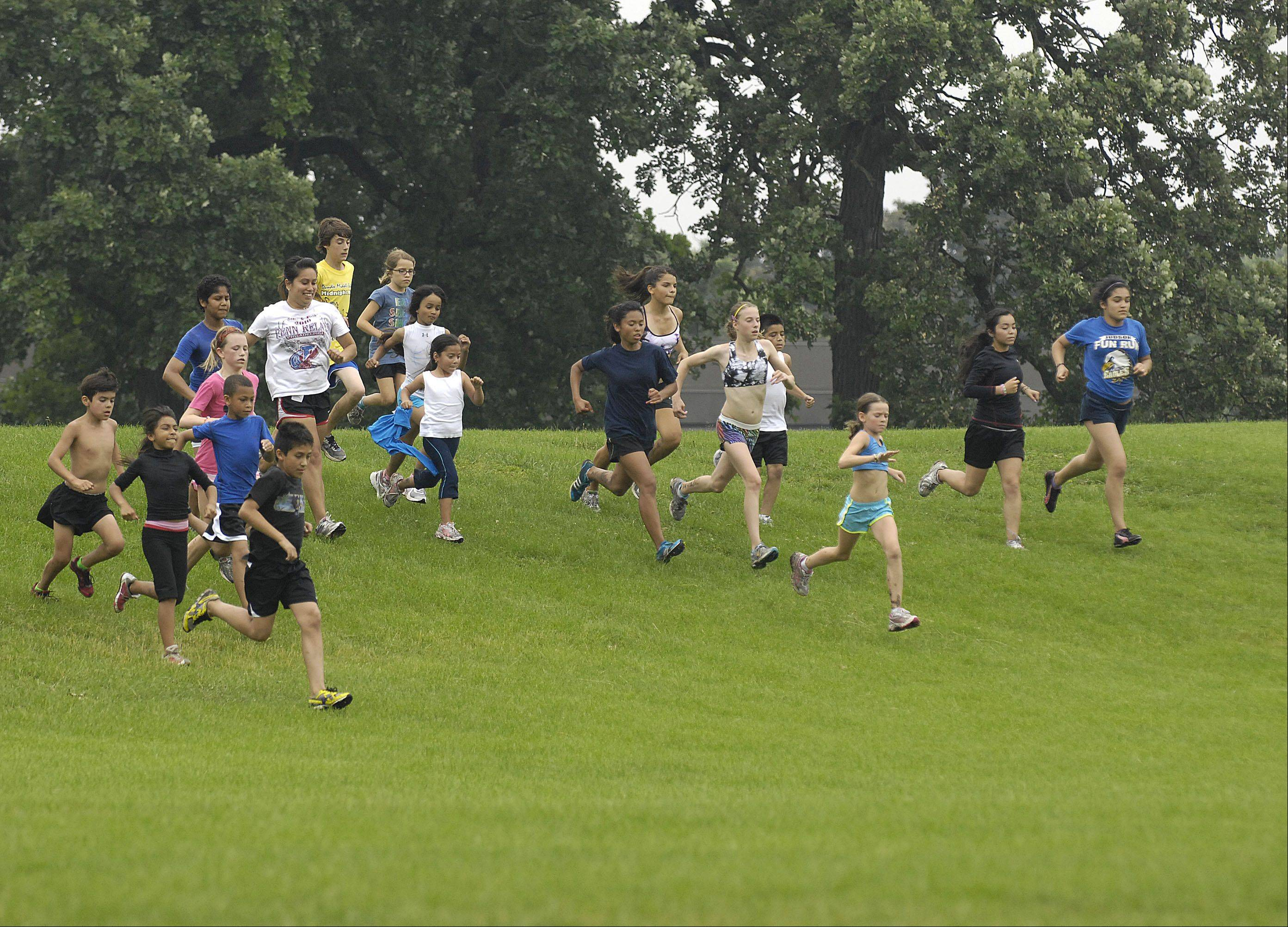 Up to 90 kids run with the Elgin Sharks running club.