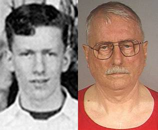 Left, John Tessier, now believed to be  Jack Daniel McCullough, from the 1971 Sycamore High School yearbook. Right. McCullough, now 71, a former police officer accused in the 1957 of a 7-ye2r-old girl.