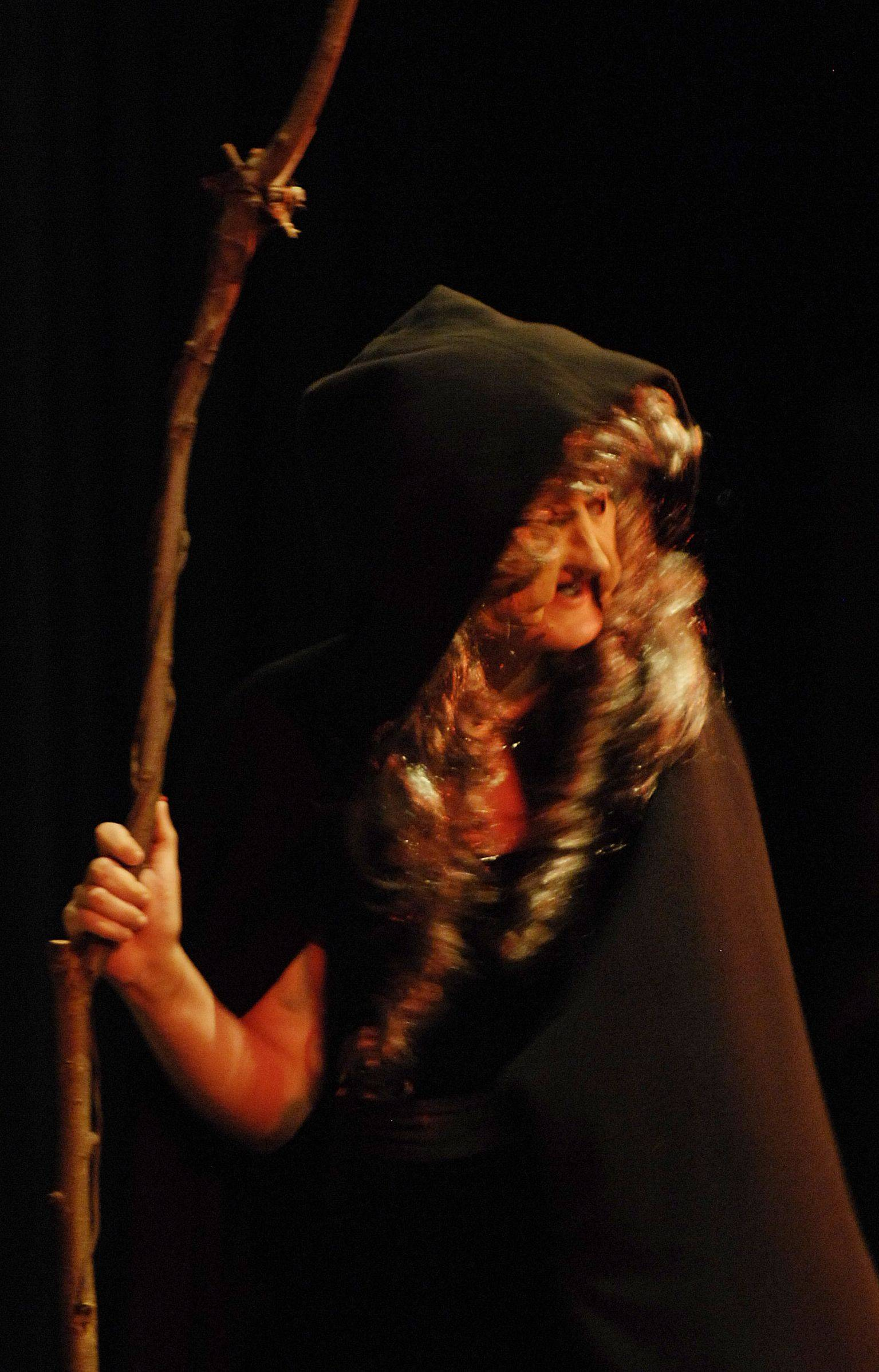 "Allison Wellnitz, above, plays the part of the witch in ""Into the Woods, Junior,"" which will open Friday at Jacobs High School in Algonquin. Wellnitz is a Jacobs High School student. Below, Danielle Klein, playing the part of Little Red, runs through the woods and out of reach of the baker and his wife, played by Michael Wade and Alissa Teade, during the District 300 Foundation rehearsal of ""Into the Woods, Junior."" Klein is a student at Westfield Community School and Wade and Teade are Jacobs students."