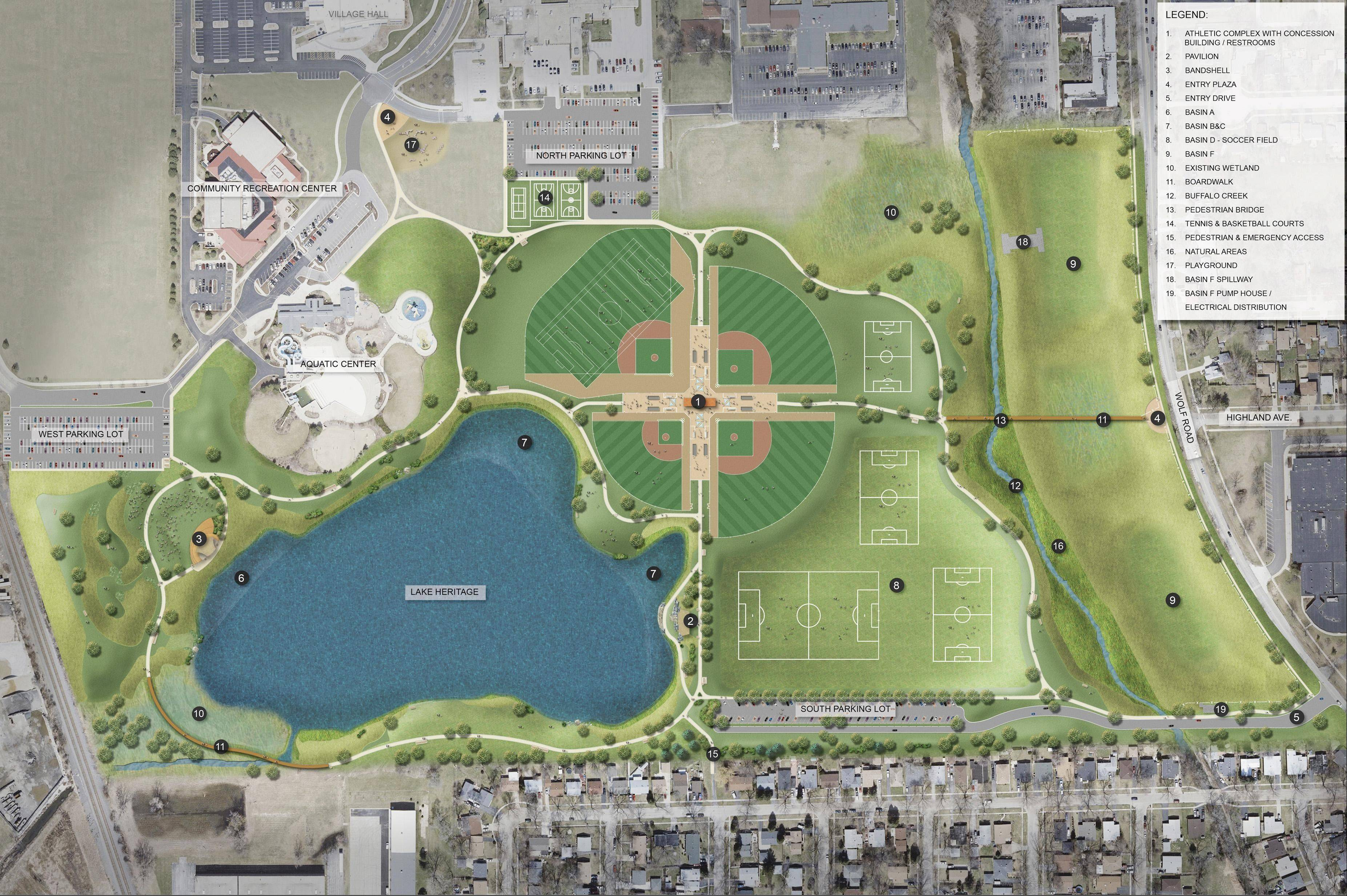 The plan for Heritage Park in Wheeling will go before the village board for approval on July 18. The renovation will be funded by the Metropolitan Water Reclamation District of Greater Chicago.