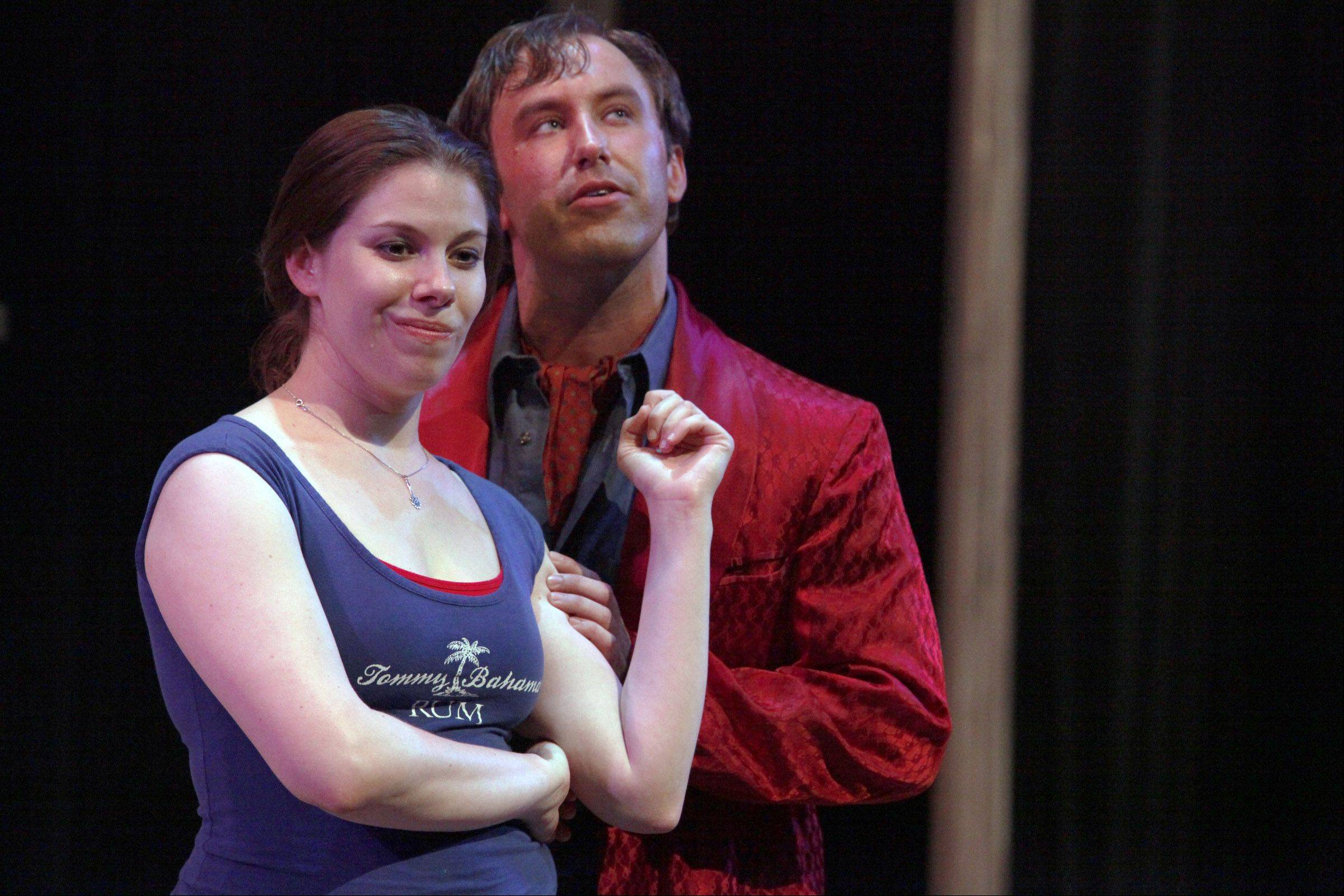 "Sara Malloy, who plays Suzanne, is part of the show's hilarious ensemble. Dave Amato, right, plays the famous artist Pablo Picasso in ""Picasso at the Lapin Agile."""