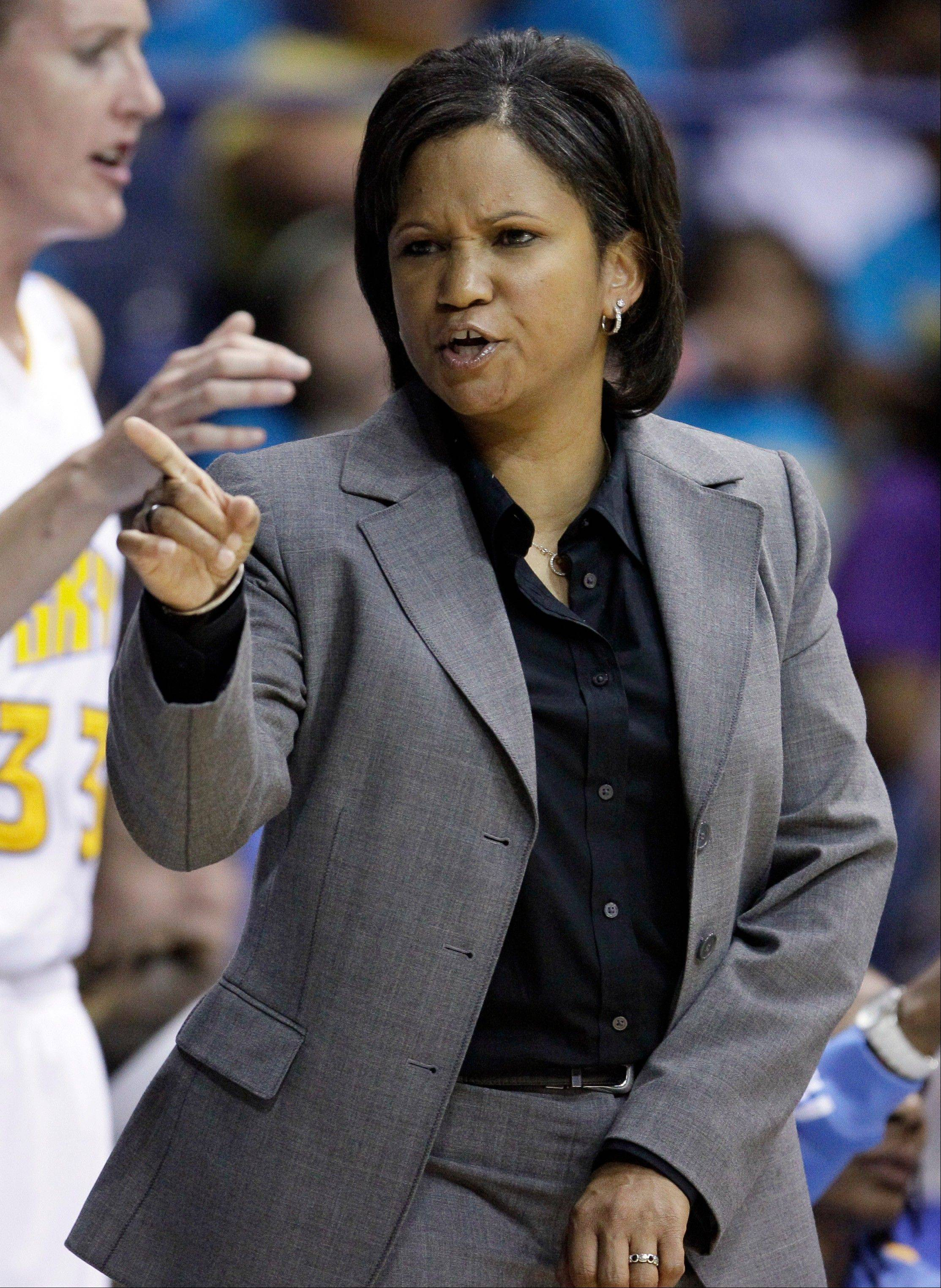 Chicago Sky head coach Pokey Chatman yells her team during the first half of an WNBA basketball game against the Tulsa Shock on Wednesday, July 13, 2011, in Rosemont, Ill.