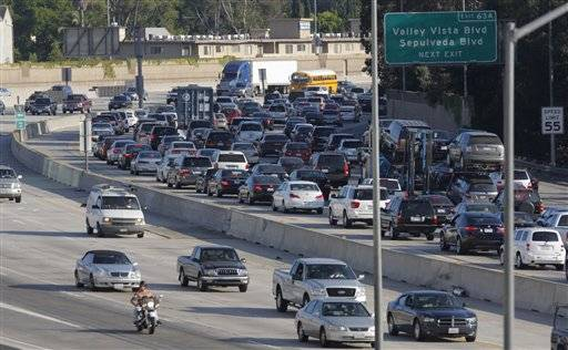 Traffic on Interstate 405 is seen from the Sherman Oaks Galleria mall parking lot Wednesday.