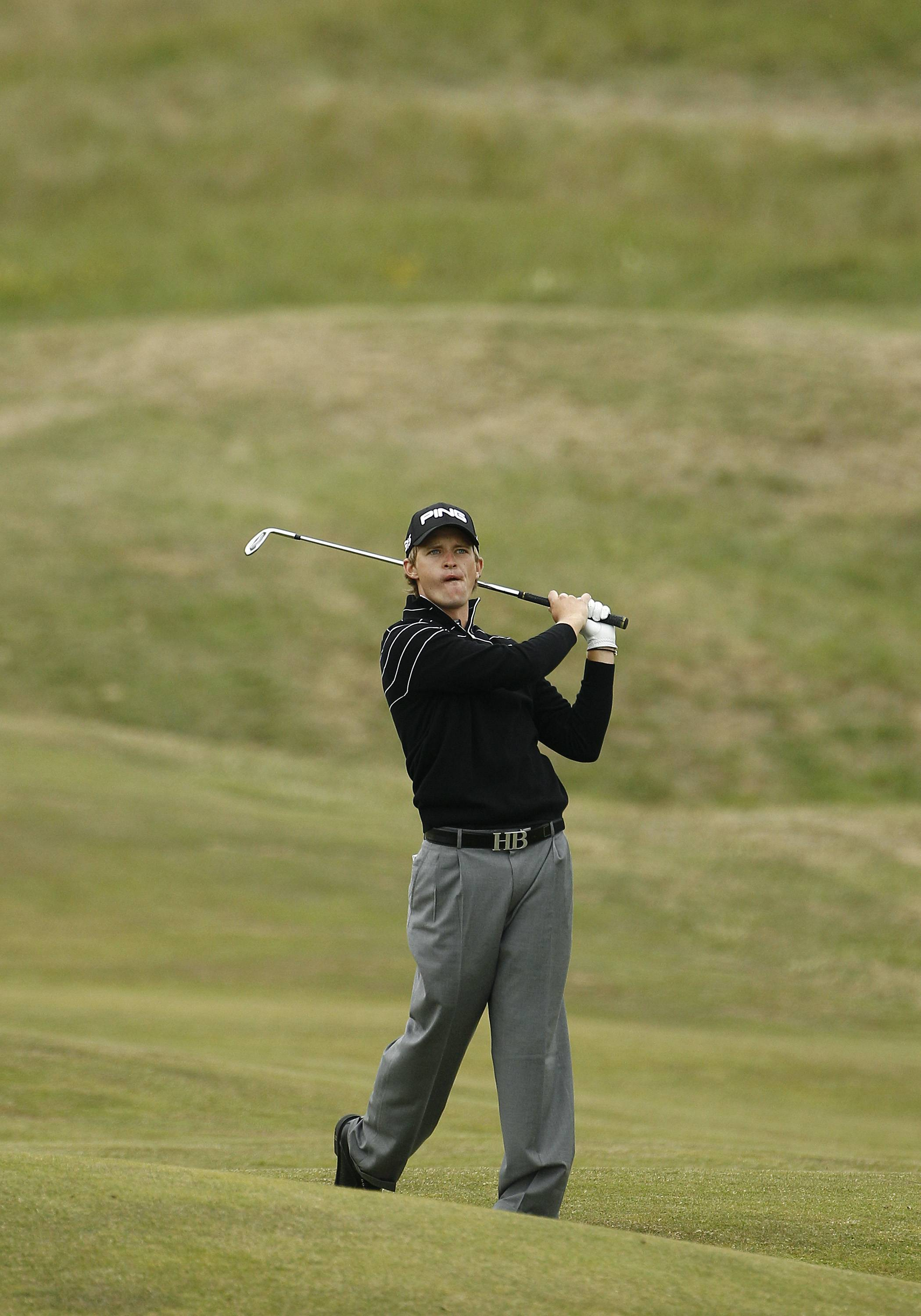England's Tom Lewis shot a 65 Thursday at the British Open Championship at Royal St George's golf course Sandwich, England.