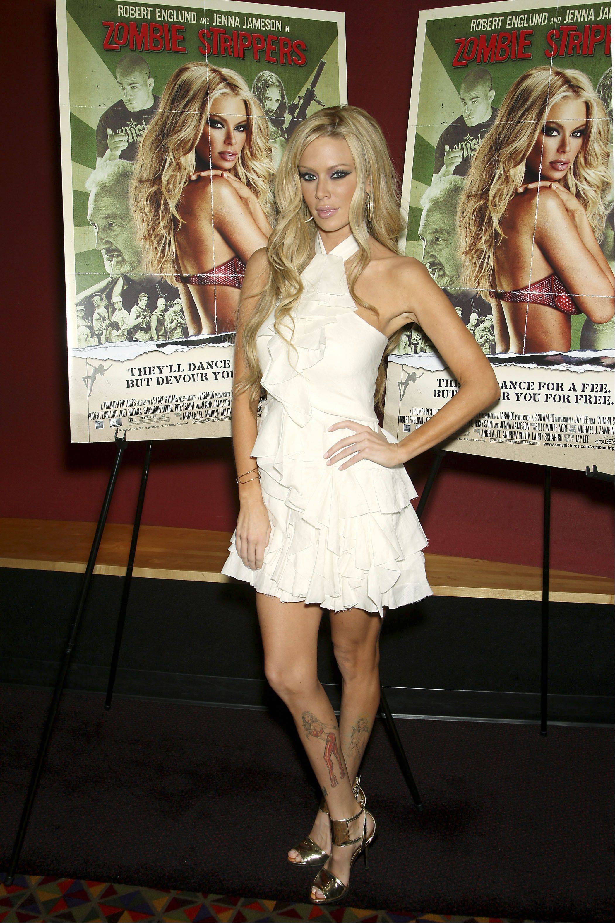 "Jenna Jameson at a screening of ""Zombie Strippers"" in New York in 2008. She's now being sued by a Naperville theater owner who accused her of skipping out on a personal appearance to promote that movie."