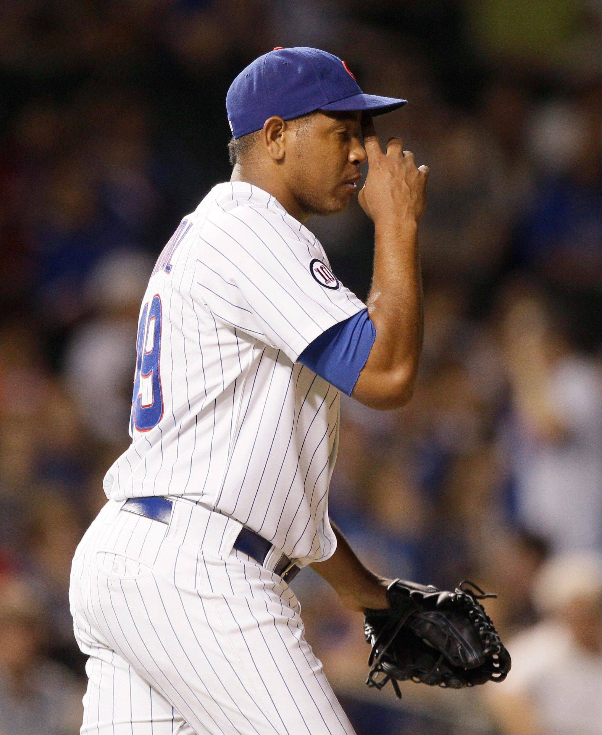 Cubs closer Carlos Marmo gave up 5 earned runs in the ninth inning Thursday night.