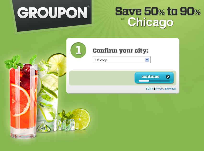 Groupon.com's Chicago-based home page.