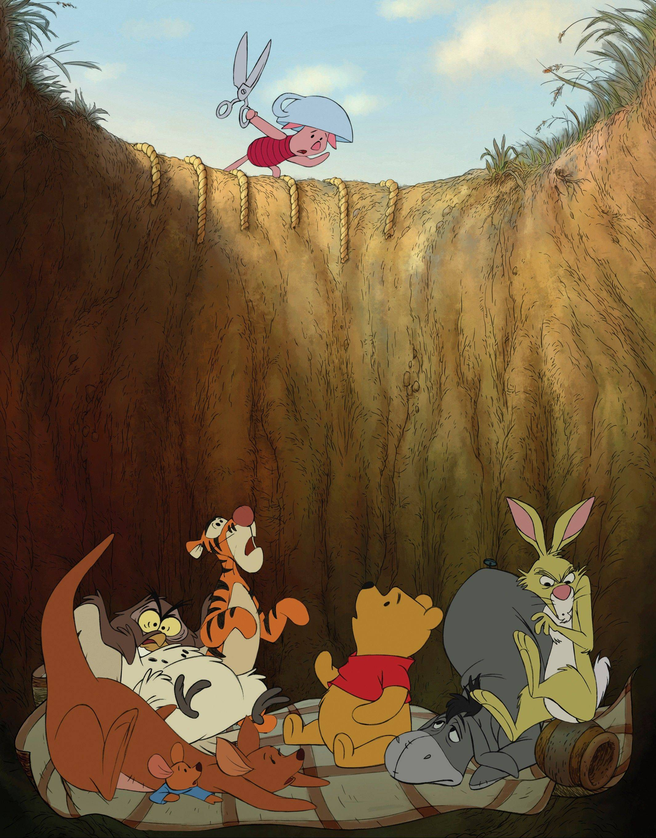 Kanga, Roo, Owl, Tigger, Winnie the Pooh, Eeyore and Rabbit must depend on Piglet to rescue them.