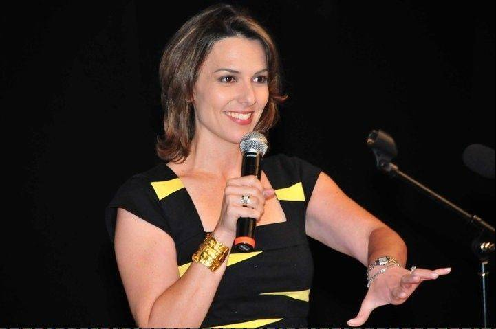 "WGN-TV reporter Ana Belaval shows off her stand up comedy chops as part of ""The Chicago Comedy Tour"" at the Metropolis Performing Arts Centre in Arlington Heights."