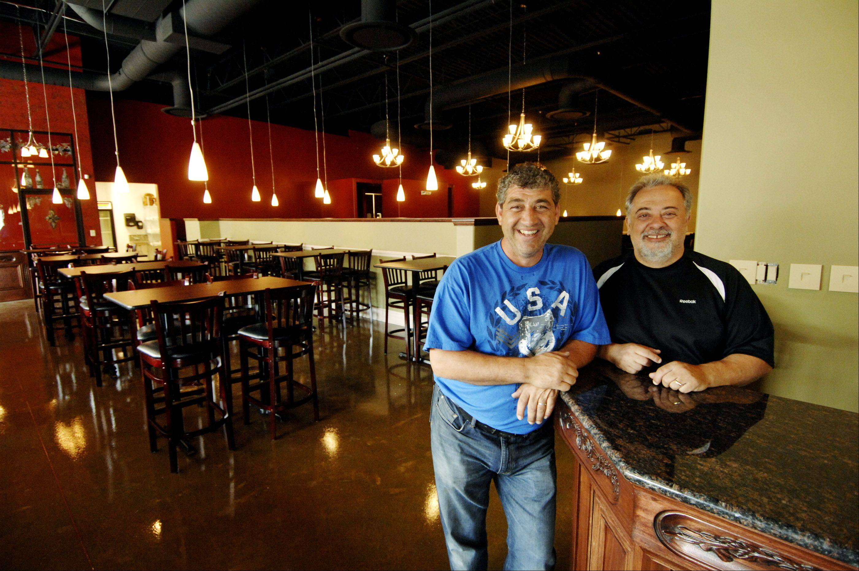Owners of the new Salerno-Pincente restaurant, Andrew Salerno, left, and Frank Pincente, right, which will open Saturday in Villa Park on North Avenue.