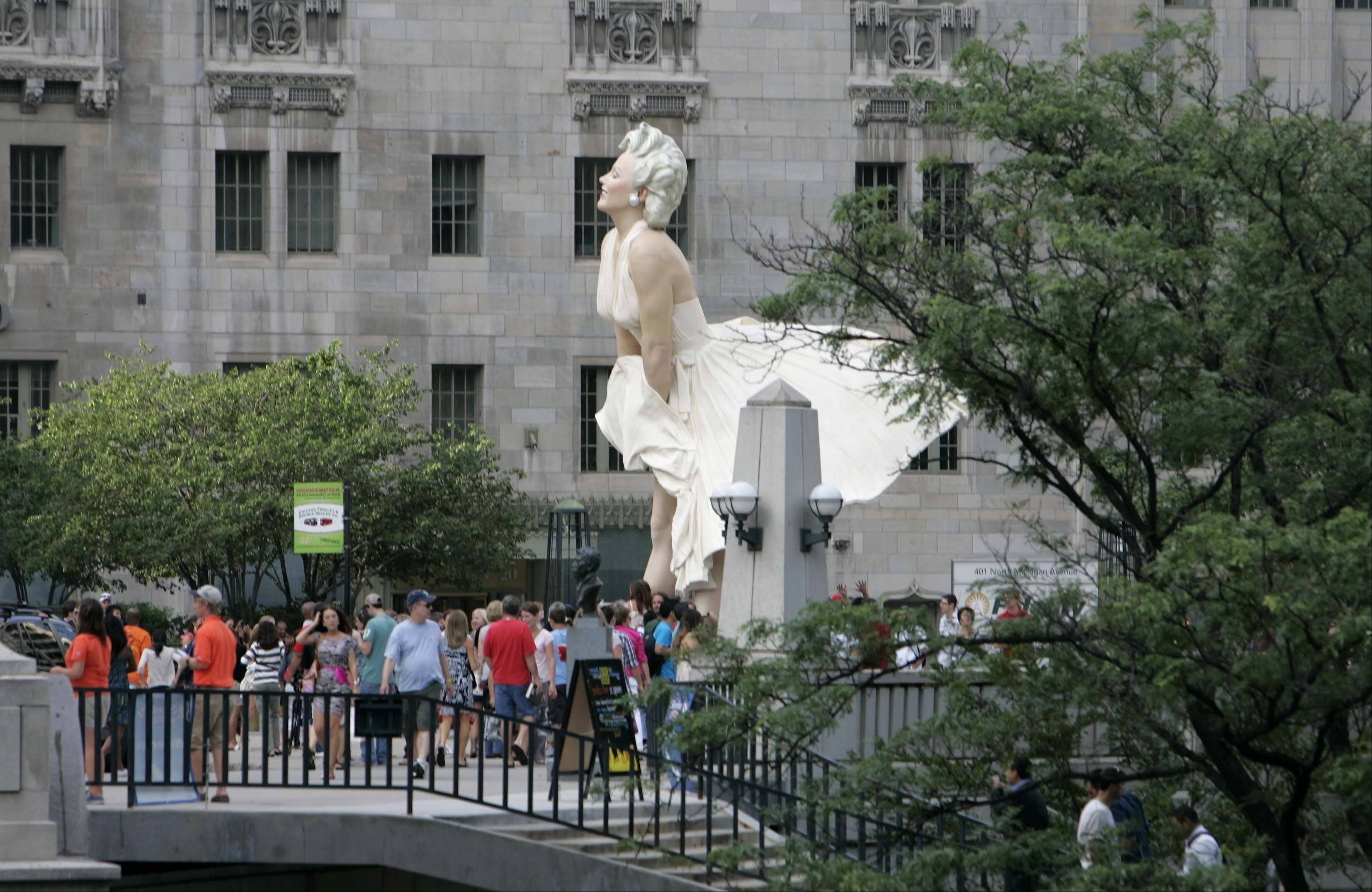"The new ""Forever Marilyn"" can be seen down Michigan Avenue."