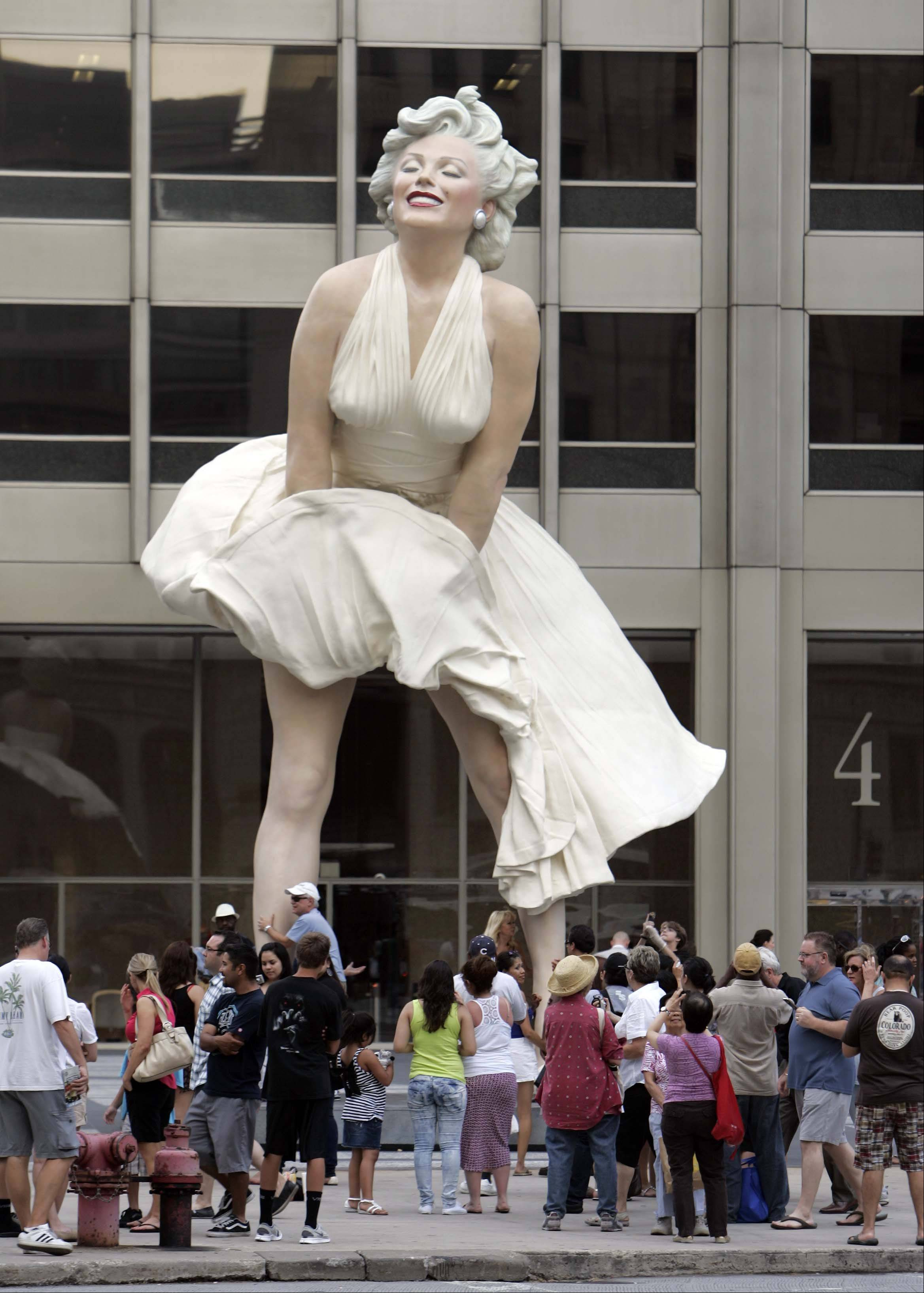 "This view looks East at the new statue ""Forever Marilyn""."