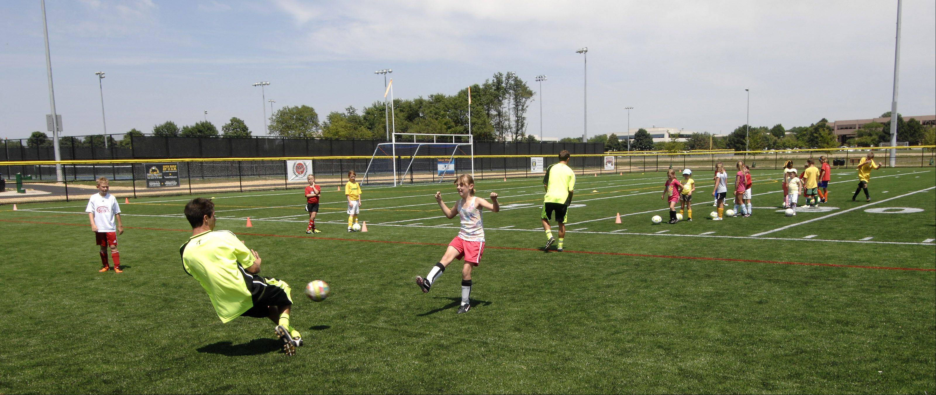 Soccer can now be practiced and played on artificial turf at the newly refurbished Nike Sports Complex on Mill Street just south of Diehl Road in Naperville.