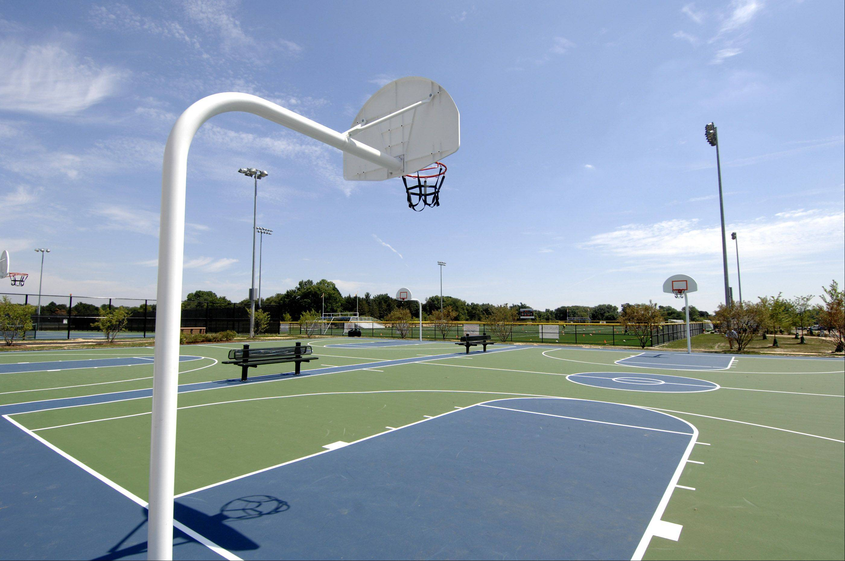 Two lighted basketball courts are part of the Nike Sports Complex expansion, which opens Saturday in Naperville.