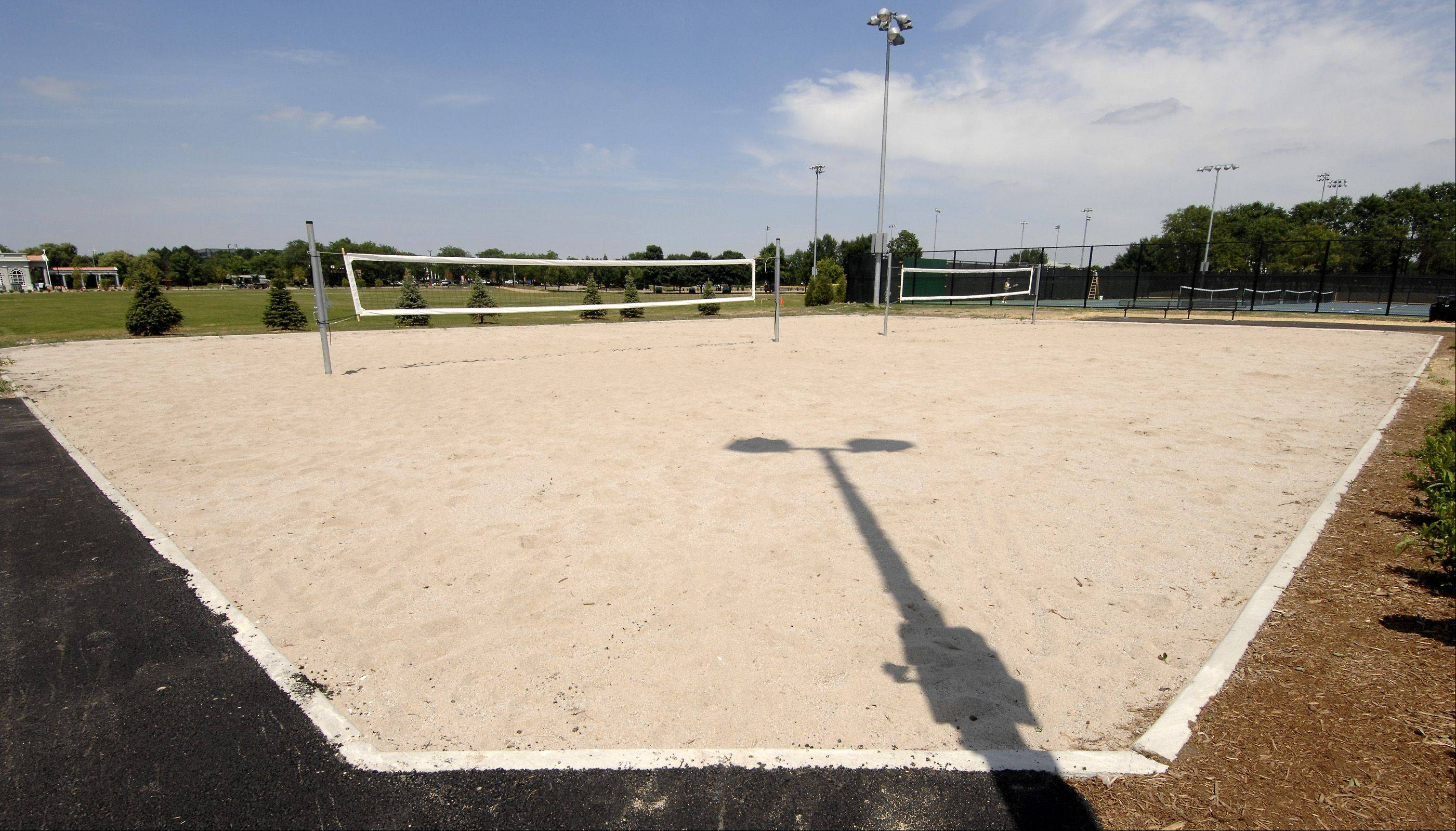 Lighted beach volleyball courts are part of the Nike Sports Complex expansion in Naperville.