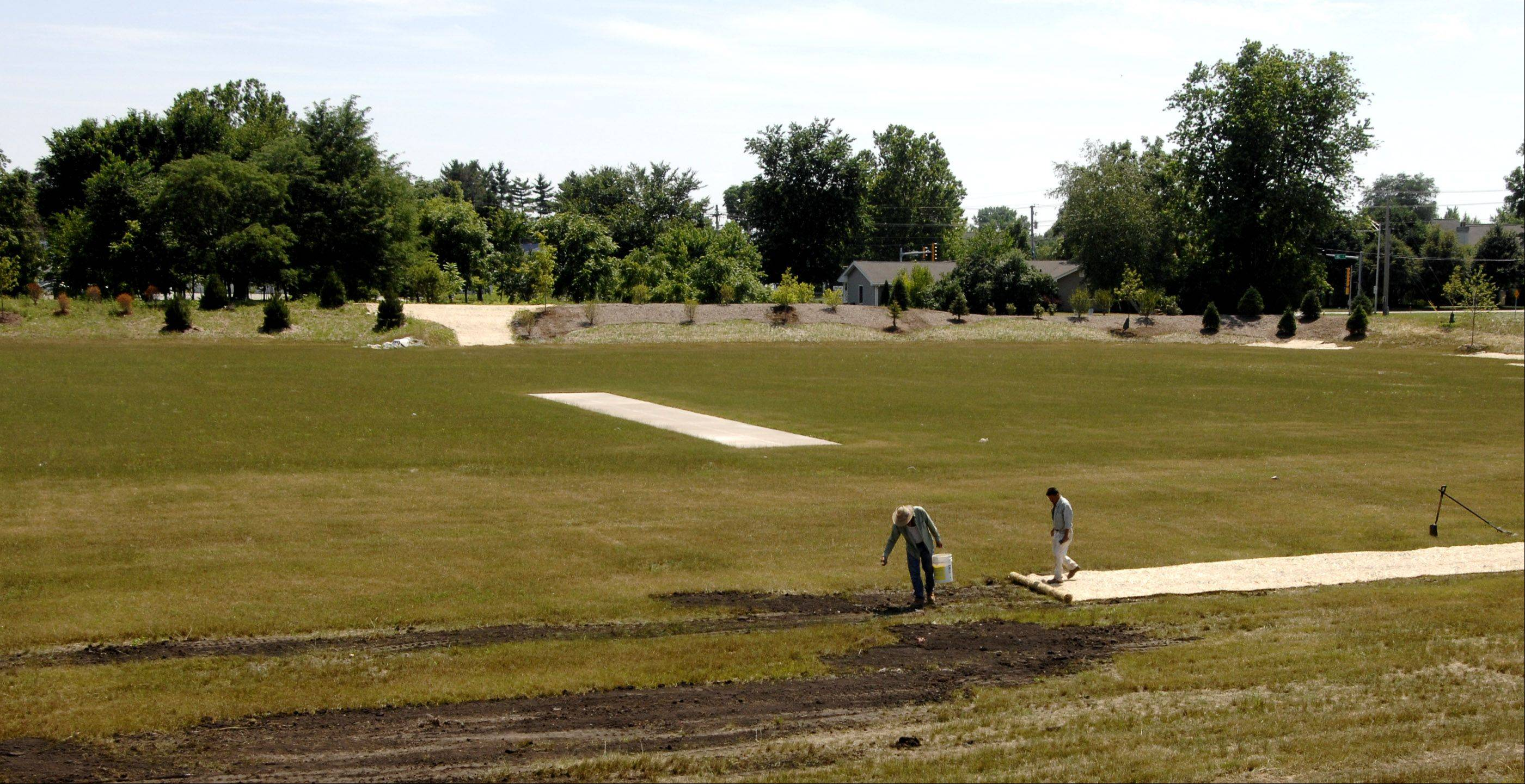 A cricket pitch built in a water detention area still is under construction at Nike Sports Complex and won't open with the rest of the park Saturday. It's expected to be ready by spring 2012.