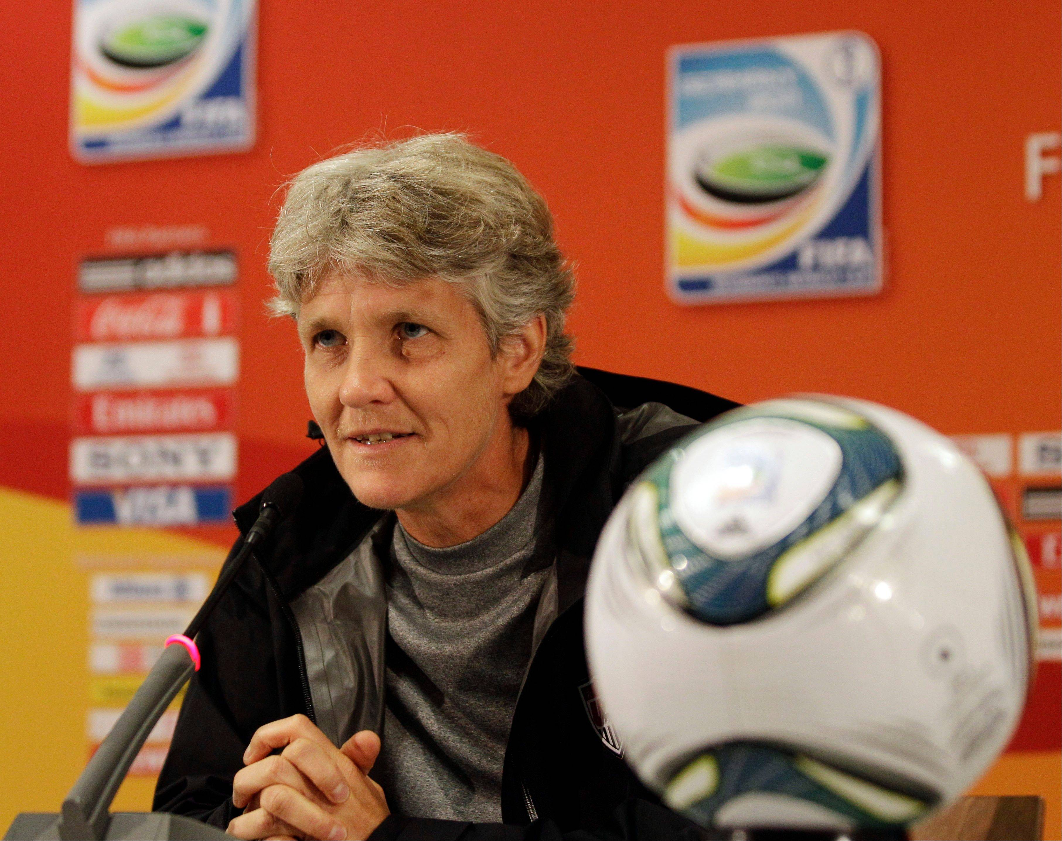 United States head coach Pia Sundhage talks to the media Saturday during a training session in preparation for Sunday's final match against Japan of the Women's Soccer World Cup in Frankfurt, Germany.