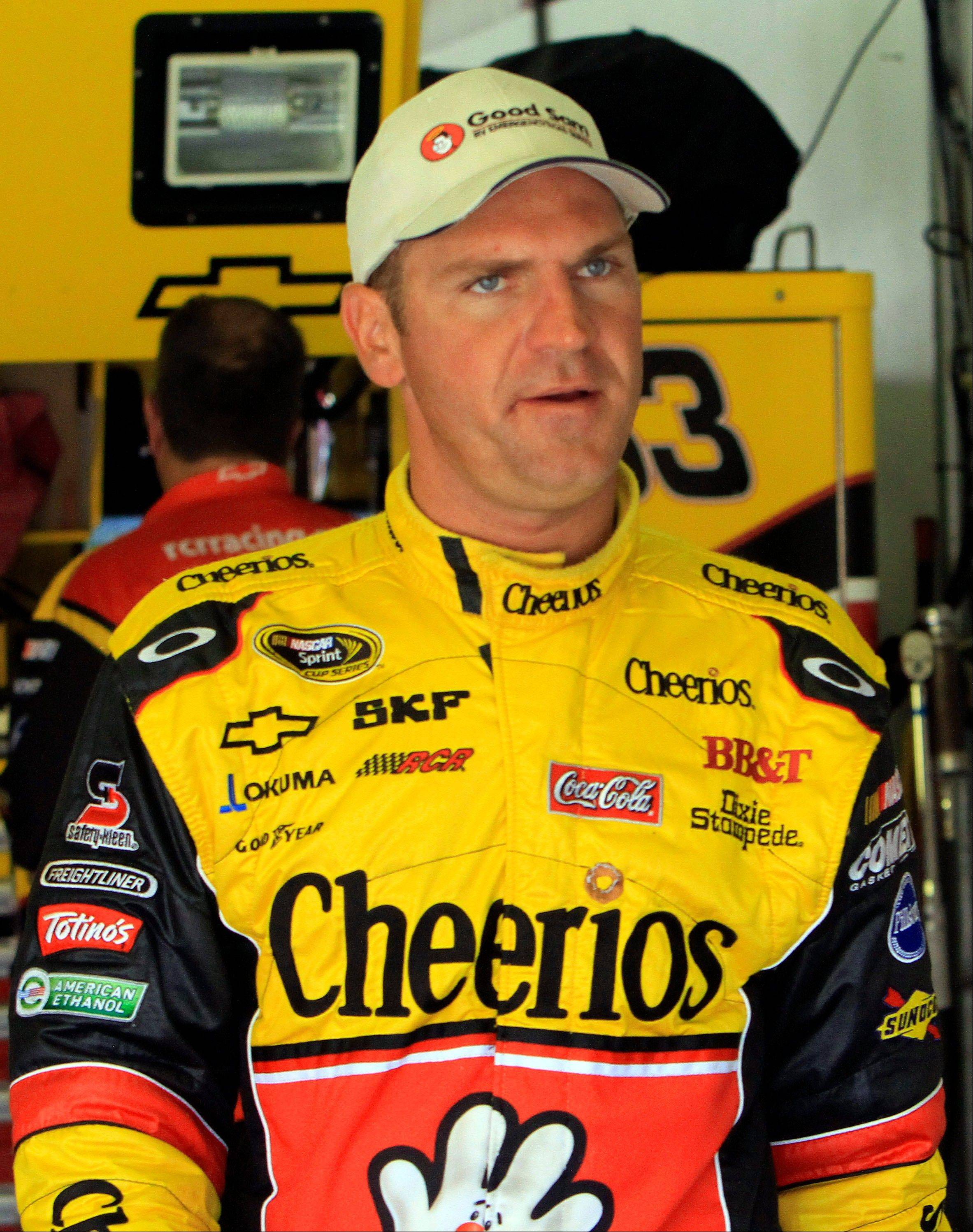 NASCAR driver Clint Bowyer takes a break from practice at New Hampshire Motor Speedway in Loudon, N.H. Saturday July 16, 2011. Bowyer is racing in Sunday's NASCAR Sprint Cup Series Lenox Industrial Tools 301. (AP Photo/Jim Cole)