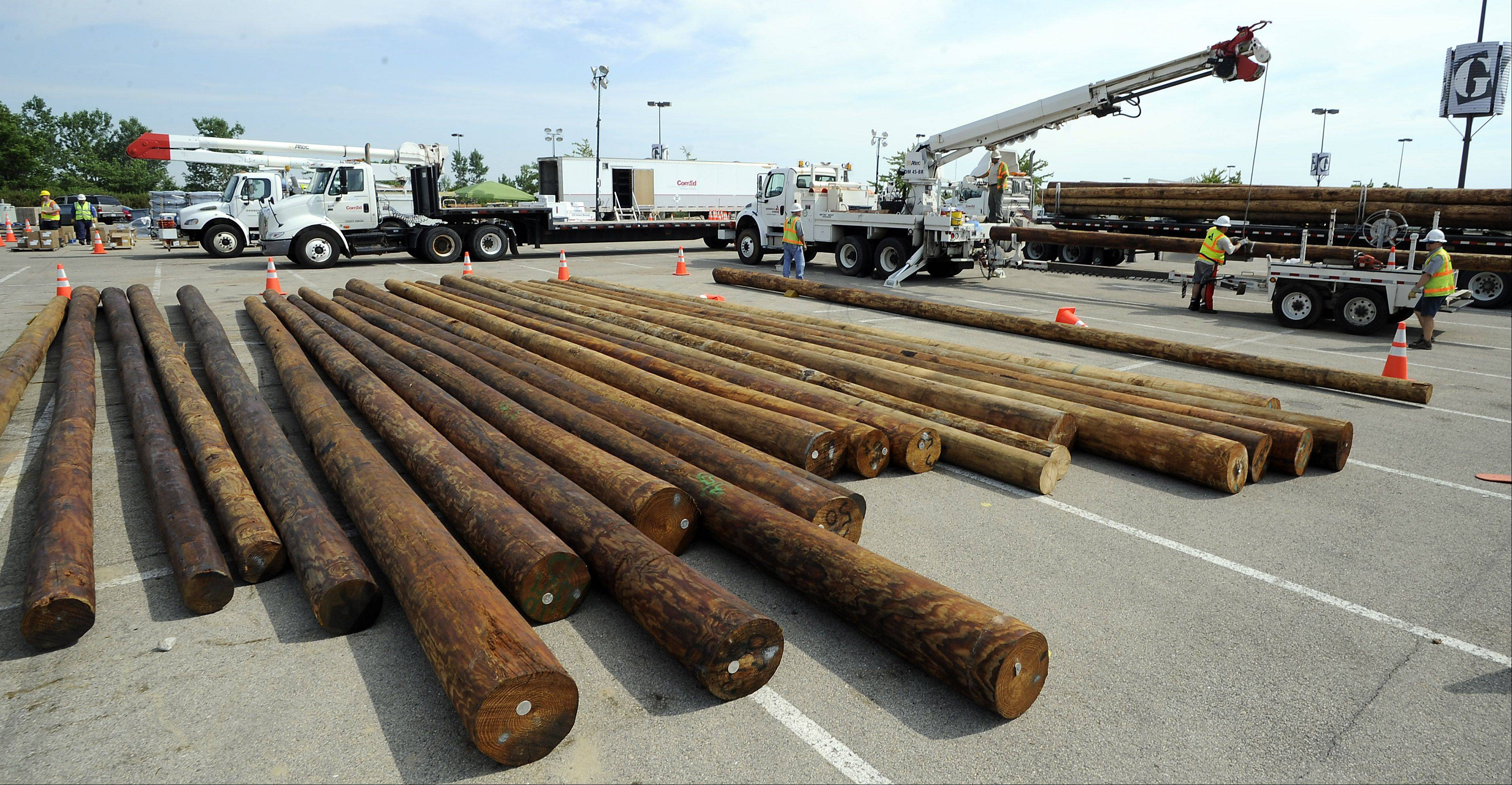 Rows of utility poles lie in the Gurnee Mills parking lot as workers cut them to size to replace the broken ones destroyed in the storm.