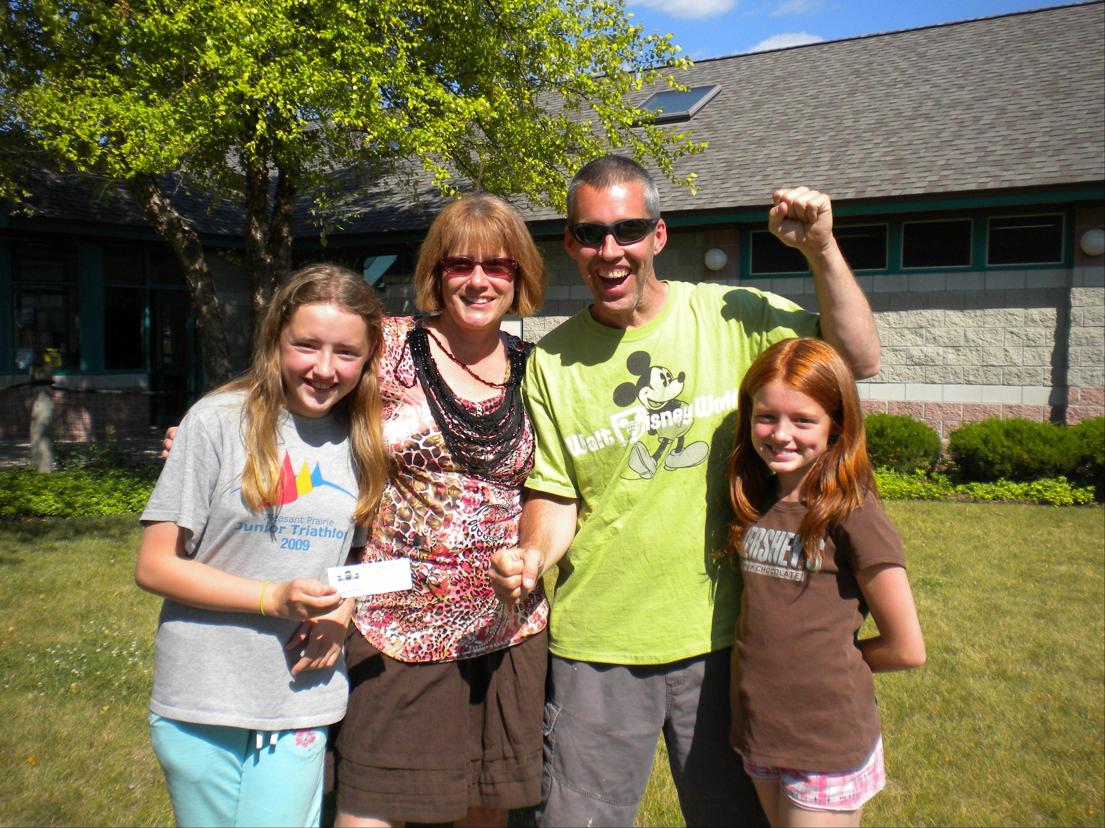 Turbo Turtle Race second place $250 winners the Meyers Family: Samantha, Mary, Frank, and Morgan Meyers.