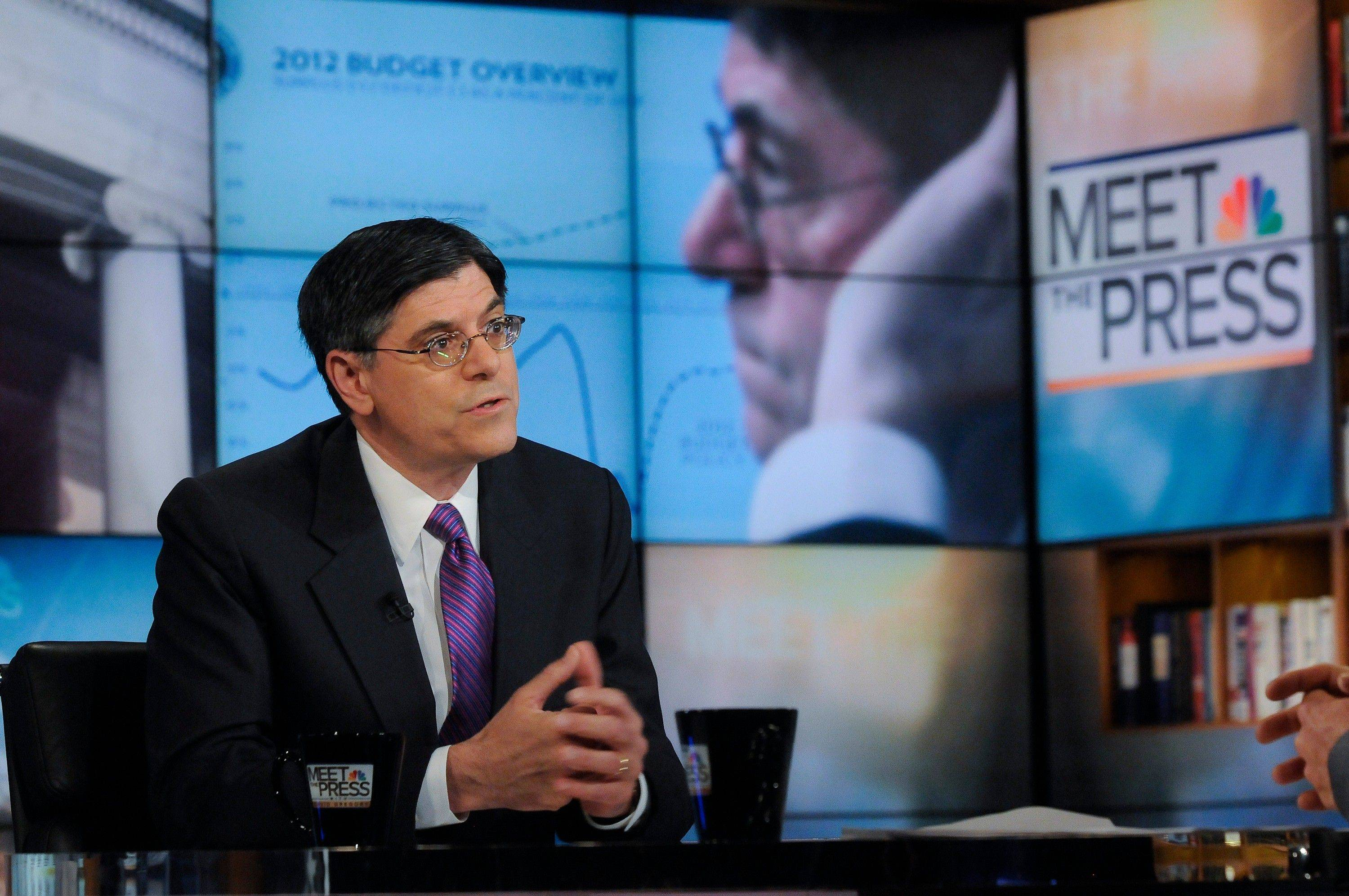 White House Budget Director Jacob Lew is interviewed on NBC�s �Meet the Press� in Washington Sunday. Lew said, �I think that what is encouraging is that the leaders in Congress seem to have all agreed that we can�t push to a default.�