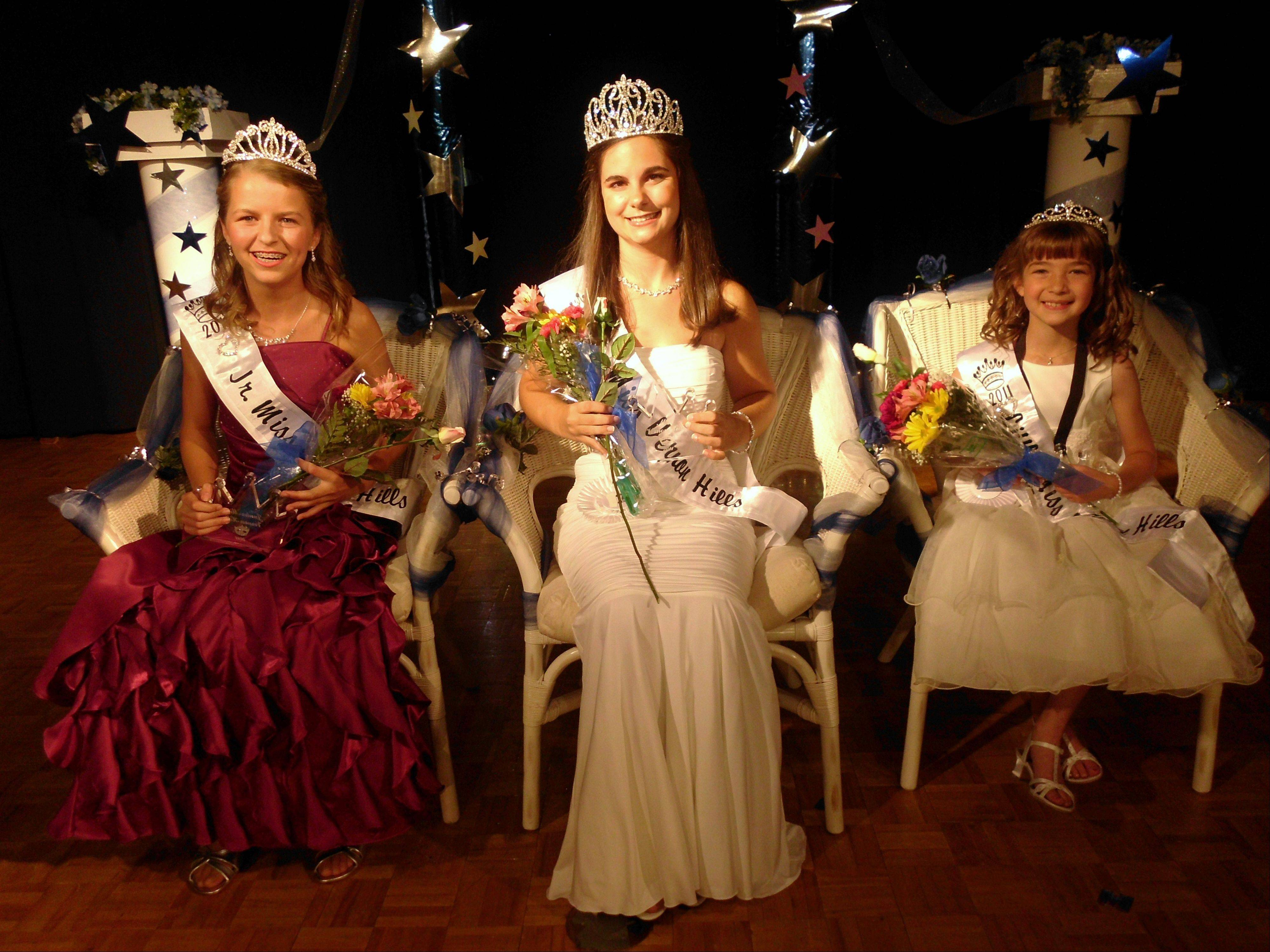 The 2011 Vernon Hills pageant winners are, from left, Junior Miss Grace Christensen, Miss Vernon Hills Cami Christopulos and Little Miss Madisyn Chiarello.