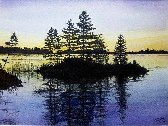 �Minnesota Sunset� is a mixed-media painting by Christine Rakow.
