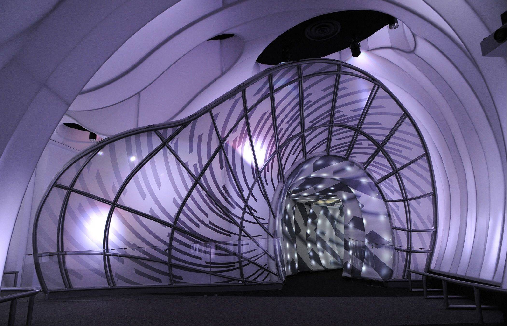 "Visitors travel through a ""space portal"" to Adler's new Grainger Sky Theater."