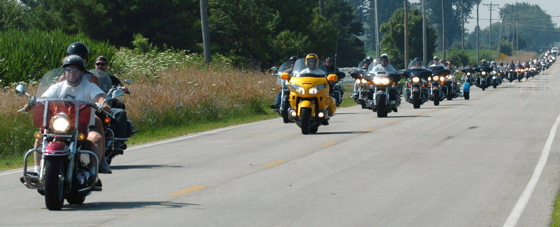 The rumble of motorbikes filled the air in Elgin during the Chicagoland Ride for Kids Sunday, which benefits the Pediatric Brain Tumor Foundation.
