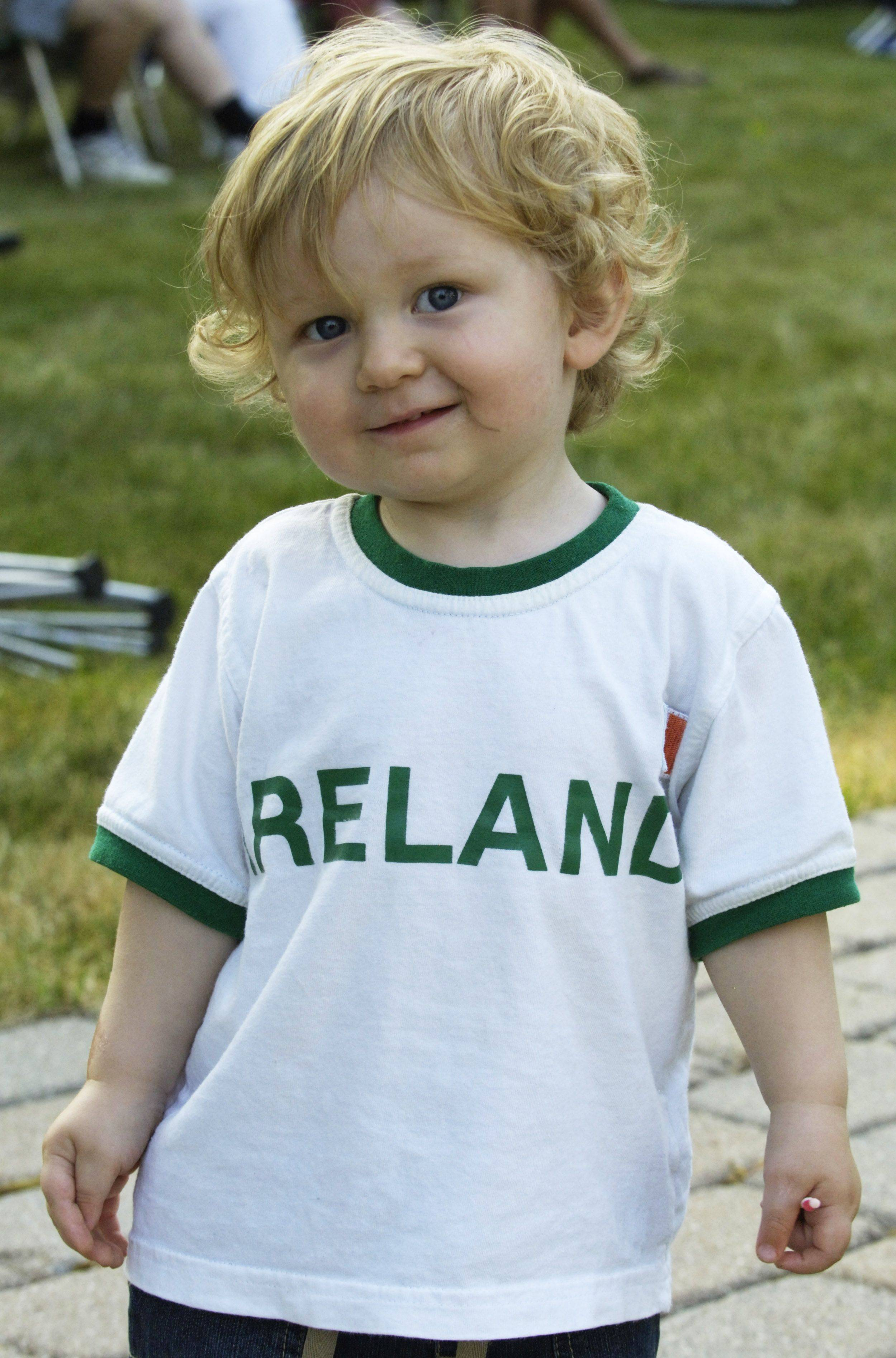 Ian O'Connell, age 21 months, of Park Ridge enjoys Irish Fest in Arlington Heights Friday.