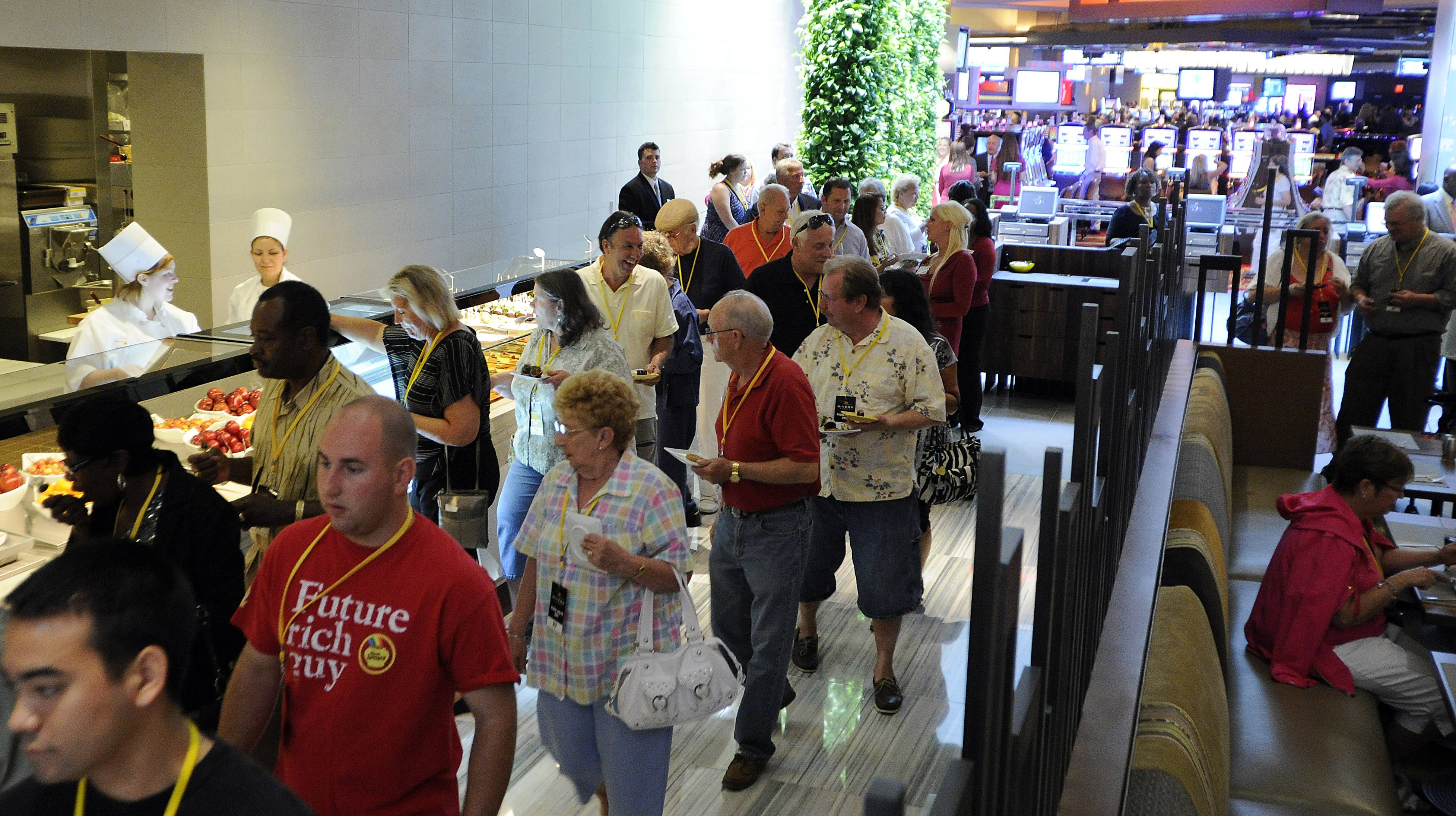 Thousands lined up for the buffet at the Rivers Casino in Des Plaines opened its doors for a VIP party on Friday.