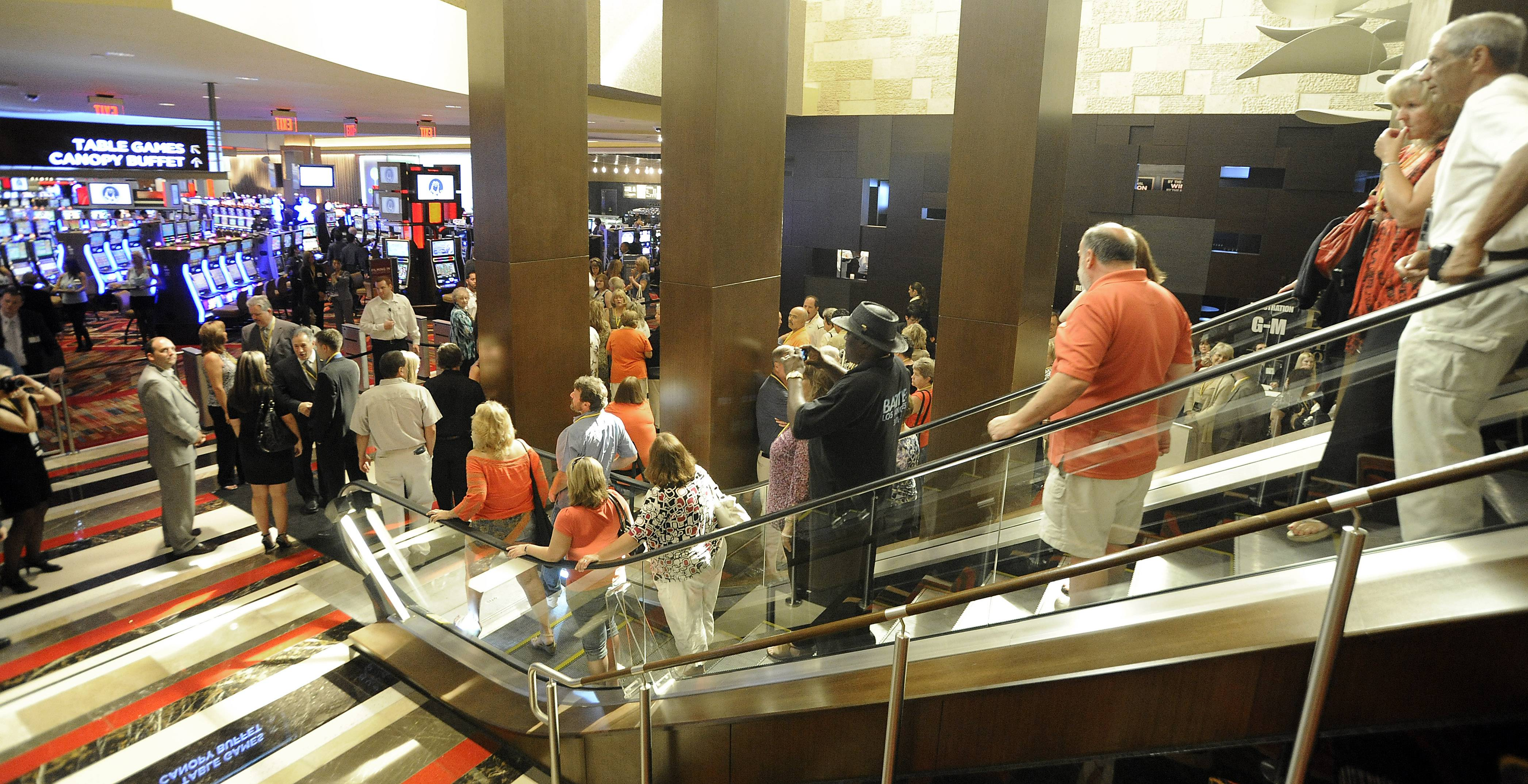 Residents line up for the The Rivers Casino in Des Plaines VIP party on Friday.