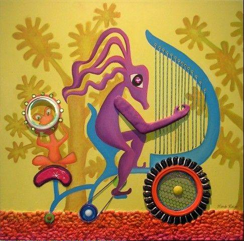 "Mandy Rakow titled this whimsical mixed-media piece ""Harpcycle on Parade."""
