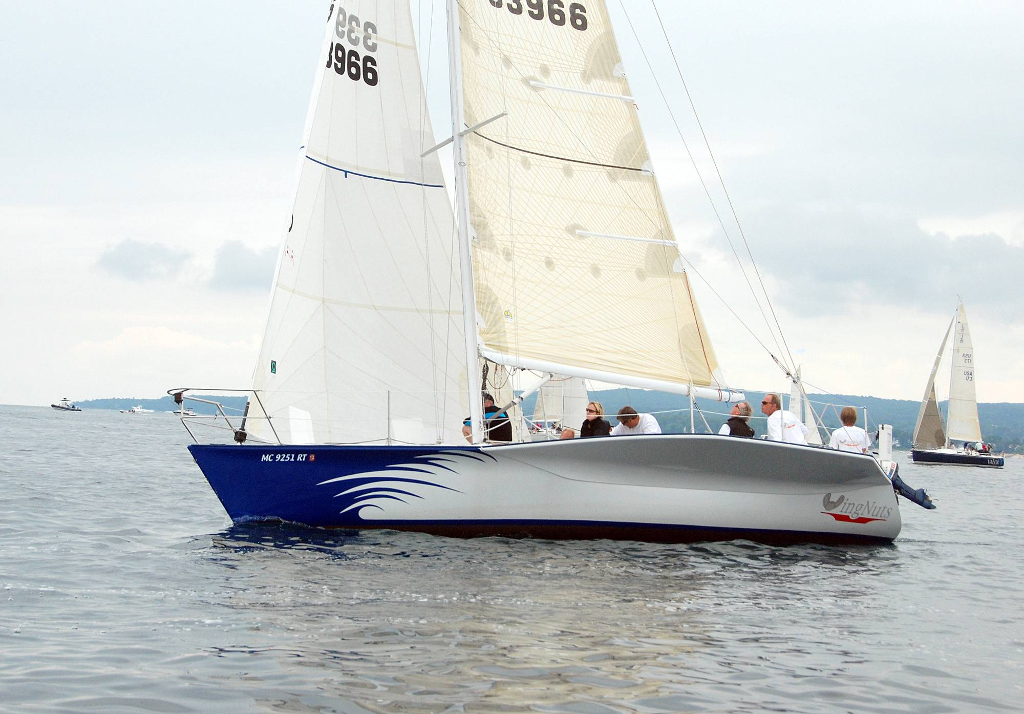 The sailboat WingNuts, shown here in July 2010, capsized in Lake Michigan early Monday during the annual Chicago-to-Mackinac race, the Coast Guard said.