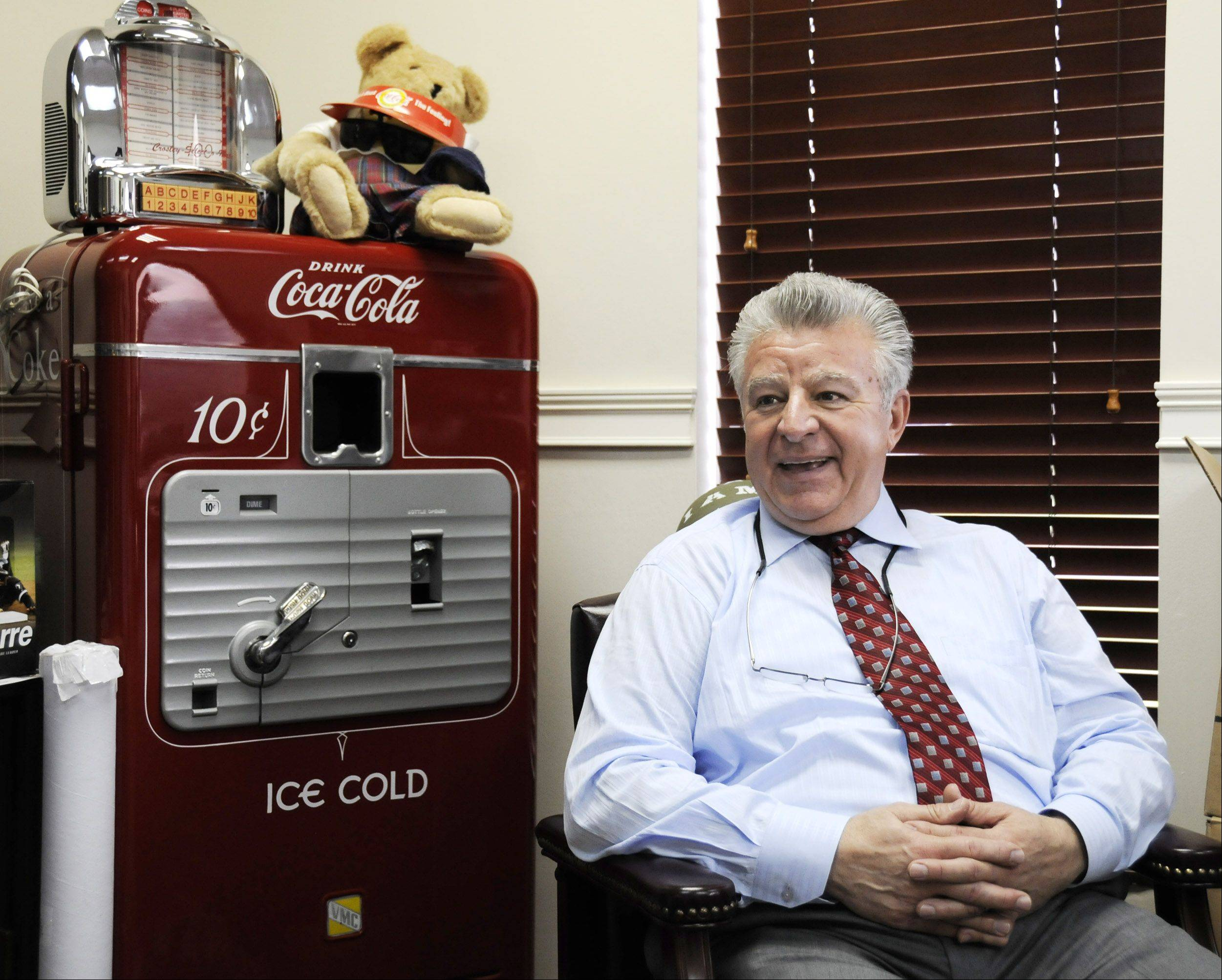 Carol Stream Village President Frank Saverino oversees the village and also runs his own business, which he started out of his home in 1981. The company, which supplies items for vending machines and convenience stores, is now headquartered in Carol Stream's industrial park.