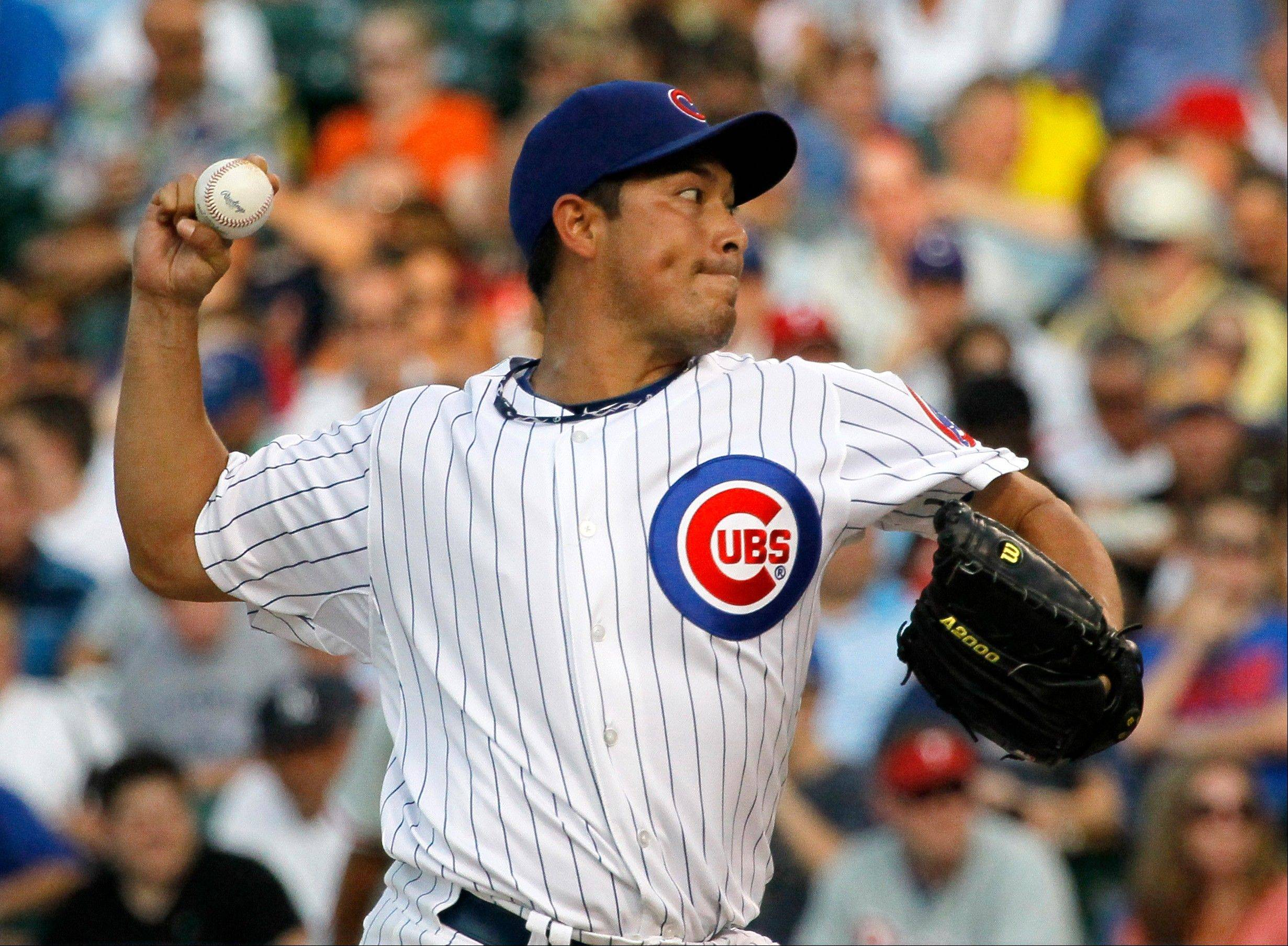 Cubs starter Rodrigo Lopez delivers during the first inning Monday against the Philadelphia Phillies at Wrigley.
