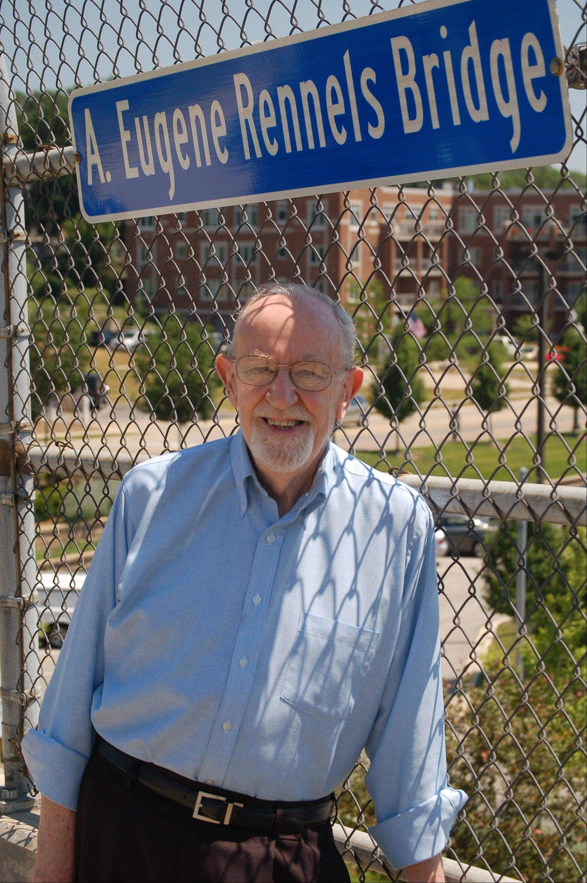 Former West Chicago Mayor A. Eugene Rennels now has a bridge named after him.