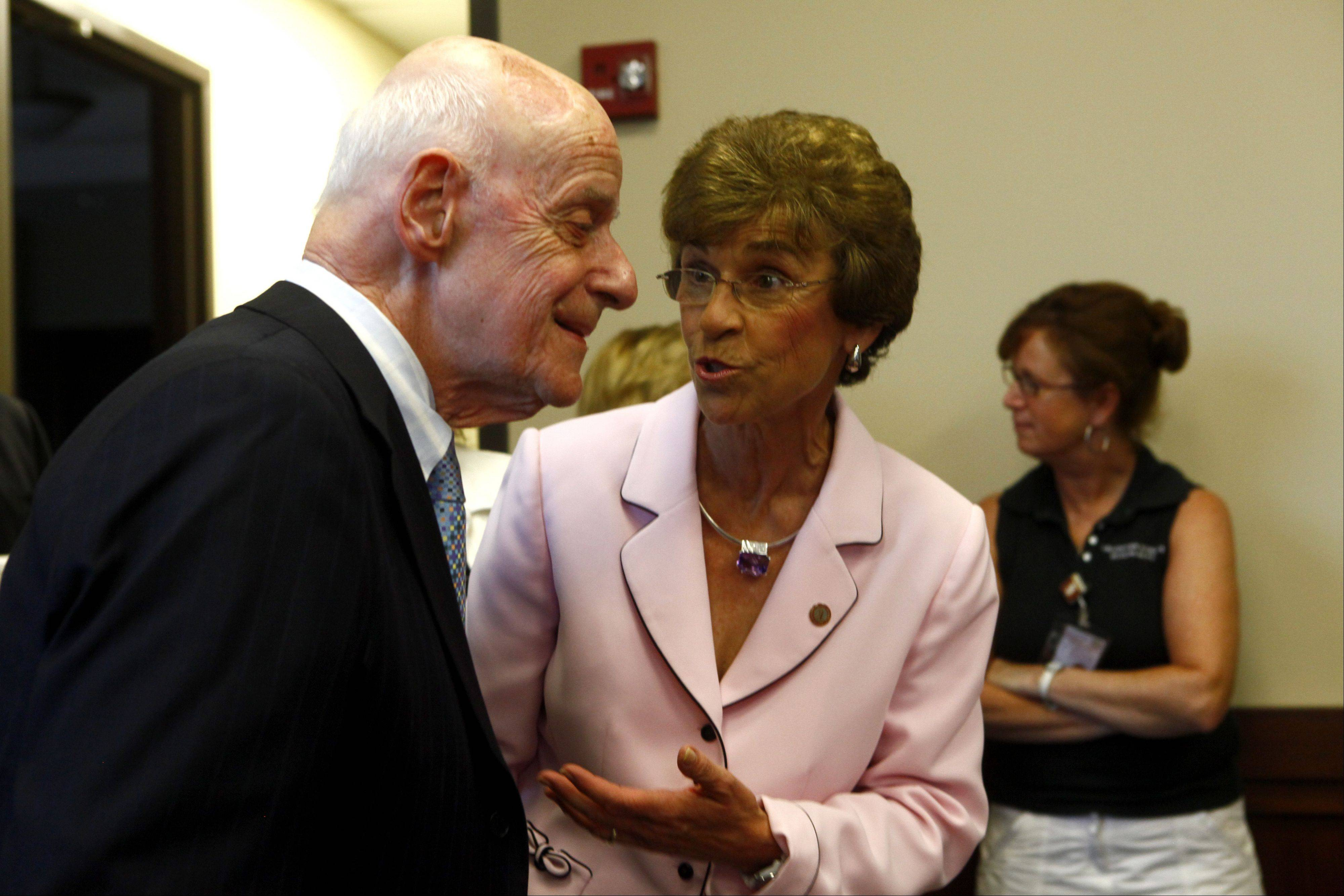 Jack Siegel talks with Village President Arlene Mulder during a reception for Siegel on Monday night before the Arlington Heights Village Board meeting.