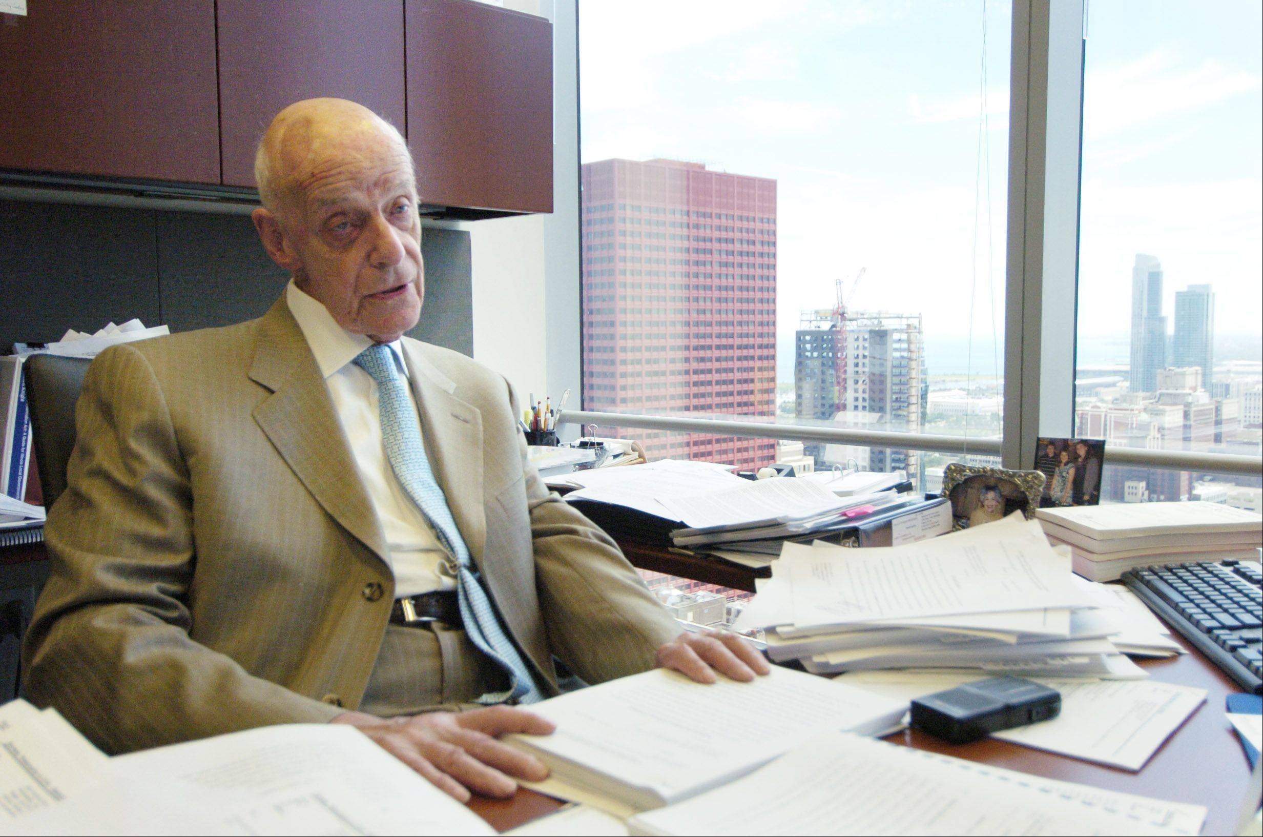 Attorney Jack Siegel, shown at his Chicago office, has been village attorney for Arlington Heights for 50 years. He also serves as village attorney of Schaumburg.