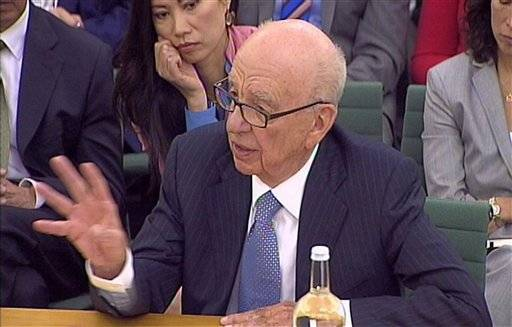 Rupert Murdoch testifying today before British Parliament.