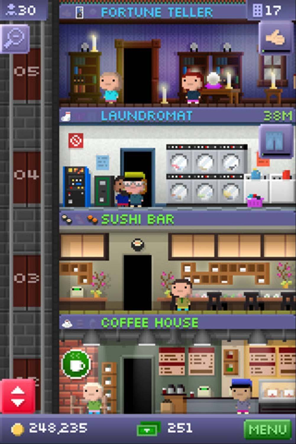 "Players build an urban skyscraper in NimbleBit's ""Tiny Tower"" for the iPad and iPhone."