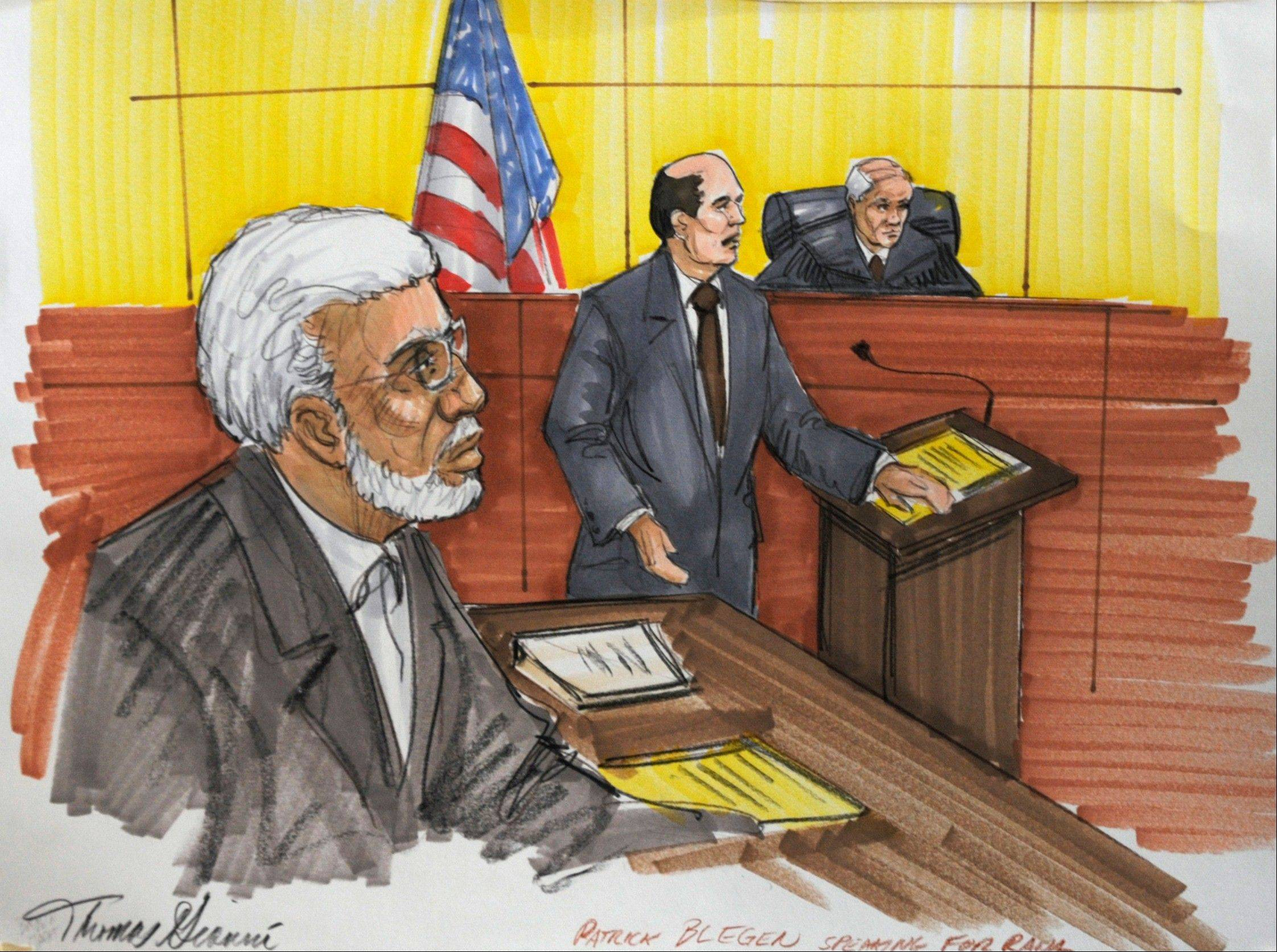In this June 7 courtroom sketch, Chicago businessman Tahawwur Rana, left, listens to defense attorney Patrick Blegen in federal court in Chicago. Jurors cleared Rana of involvement in the 2008 siege in that left more than 160 people dead in India�s largest city. But they convicted him of lesser charges, including that he provided material support to a Pakistani militant group that took responsibility for the attack.