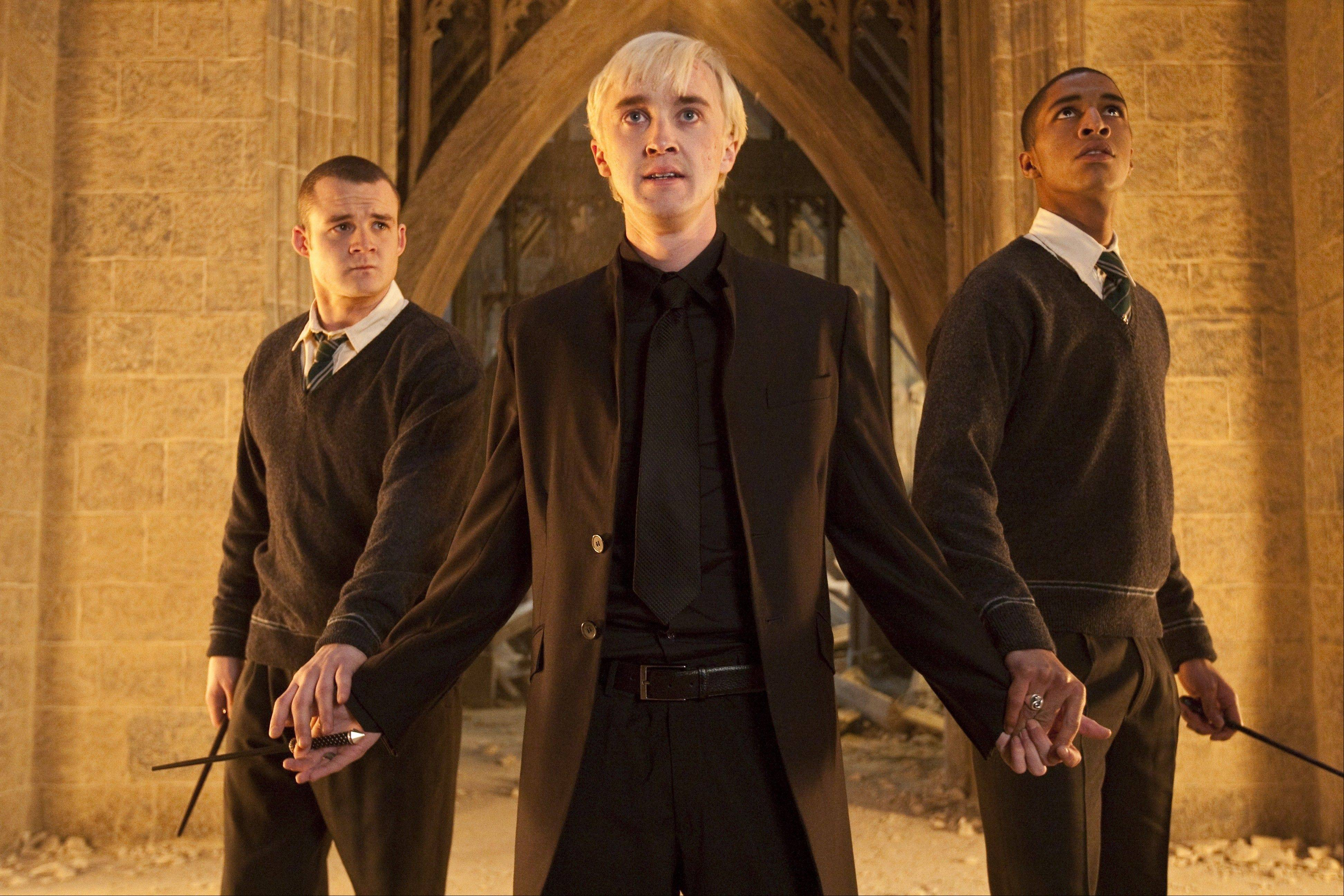 Tom Felton, center, will head to Naperville and Woodridge this weekend to meet with fans. The actor, now 23, has played Harry Potter rival Draco Malfoy in all eight films.