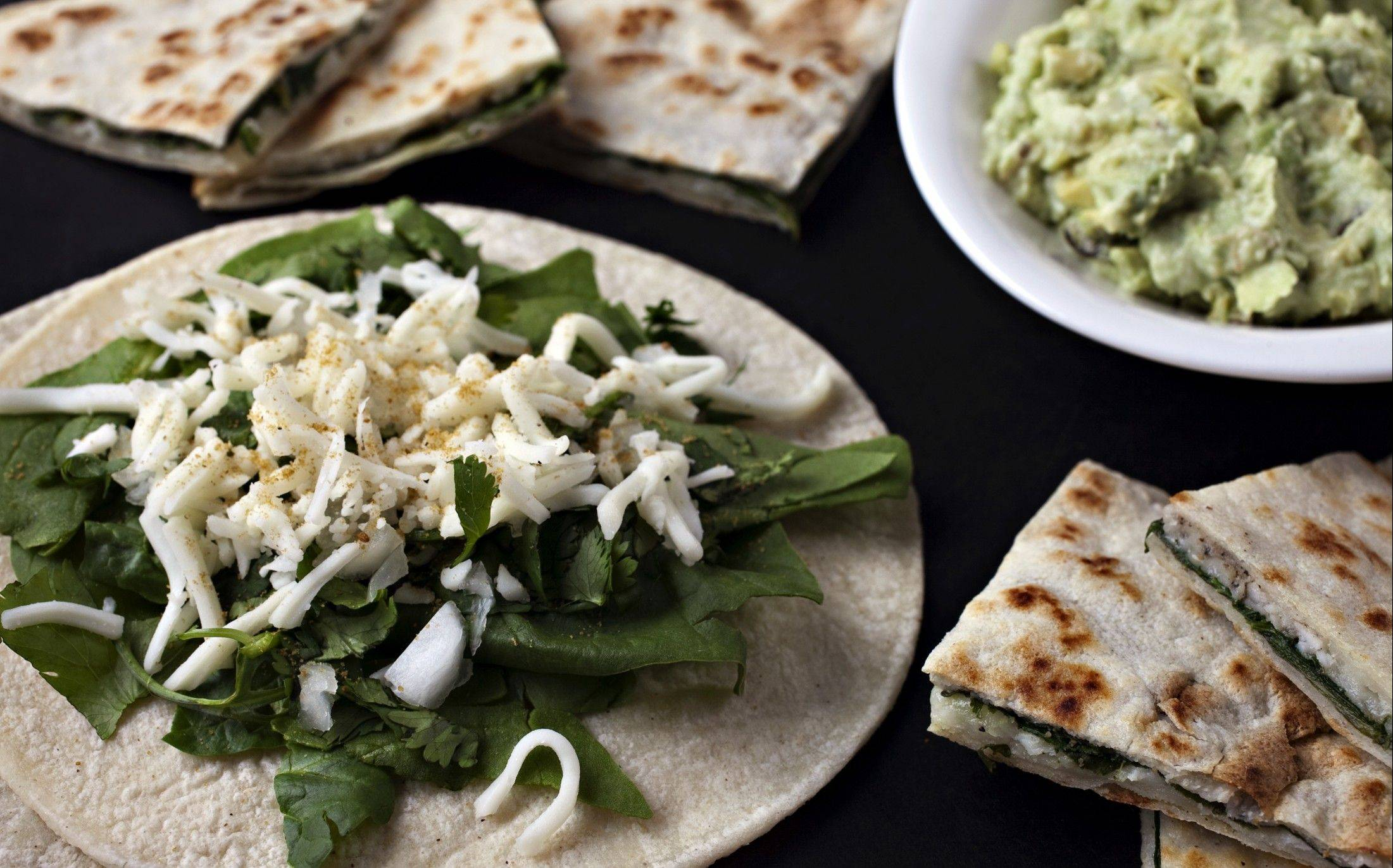 We asked the pros to put MyPlate into practice. One option they came up with is Spinach and Cilantro Quesadillas.