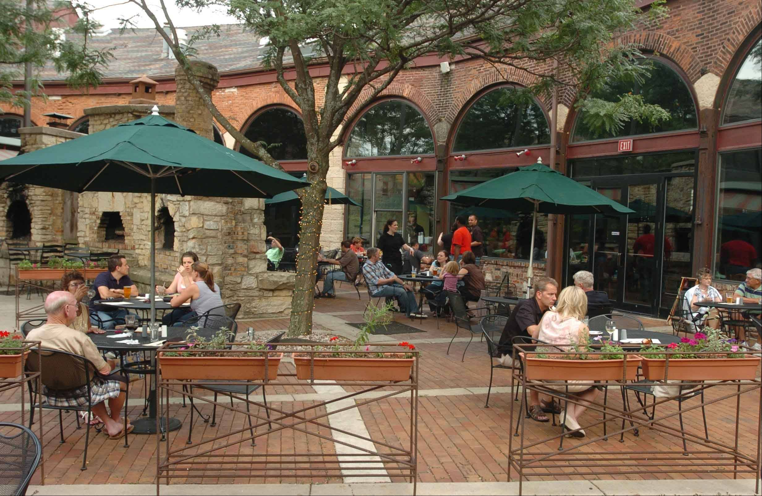A patio provides outdoor seating in the summer months at Two Brothers Roundhouse in Aurora.