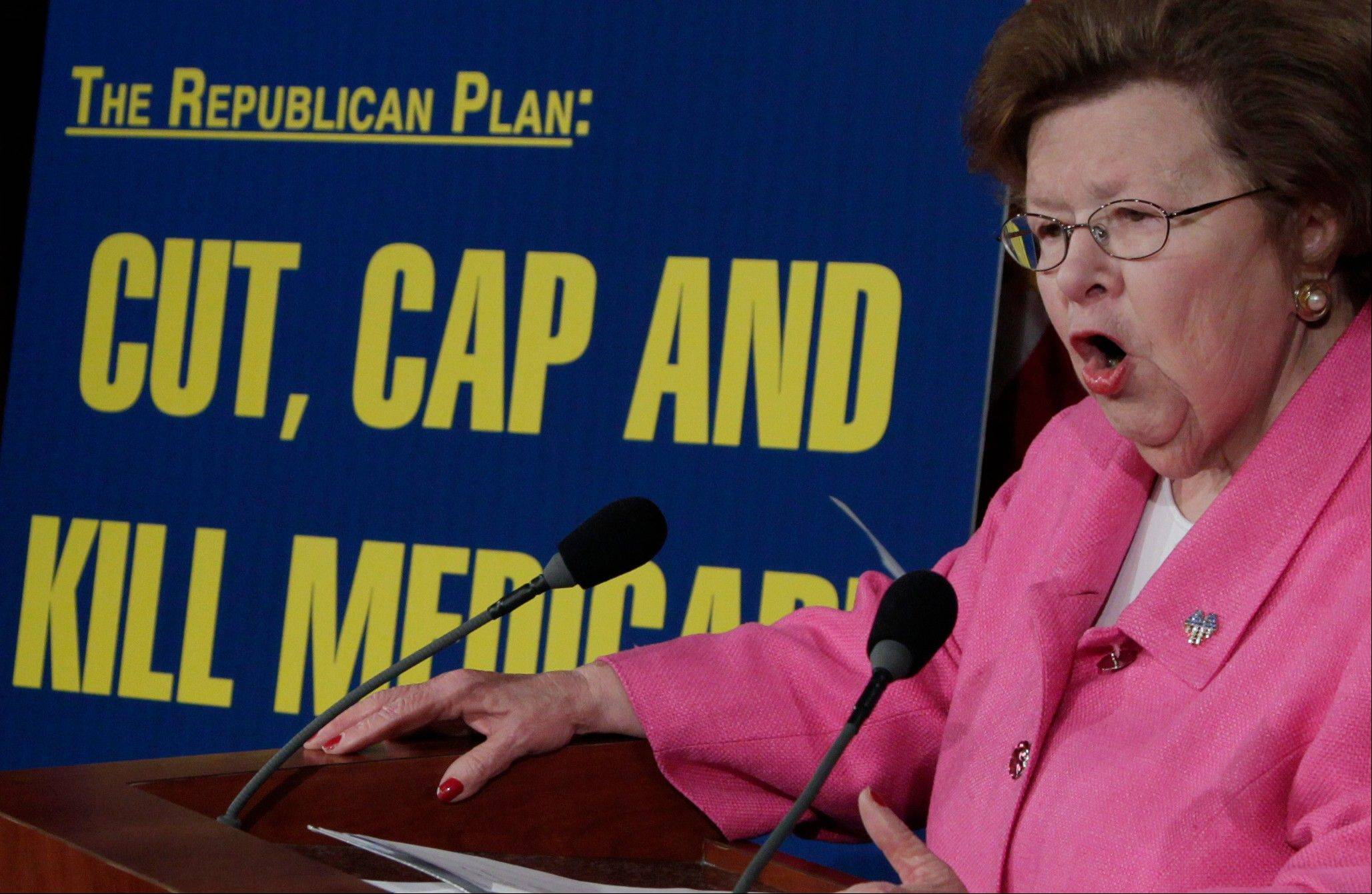 "Sen. Barbara Mikulski, a Maryland Democrat, speaks during a news conference to denounce House Republicans' ""Cut, Cap, and Balance Act"" Wednesday on Capitol Hill."