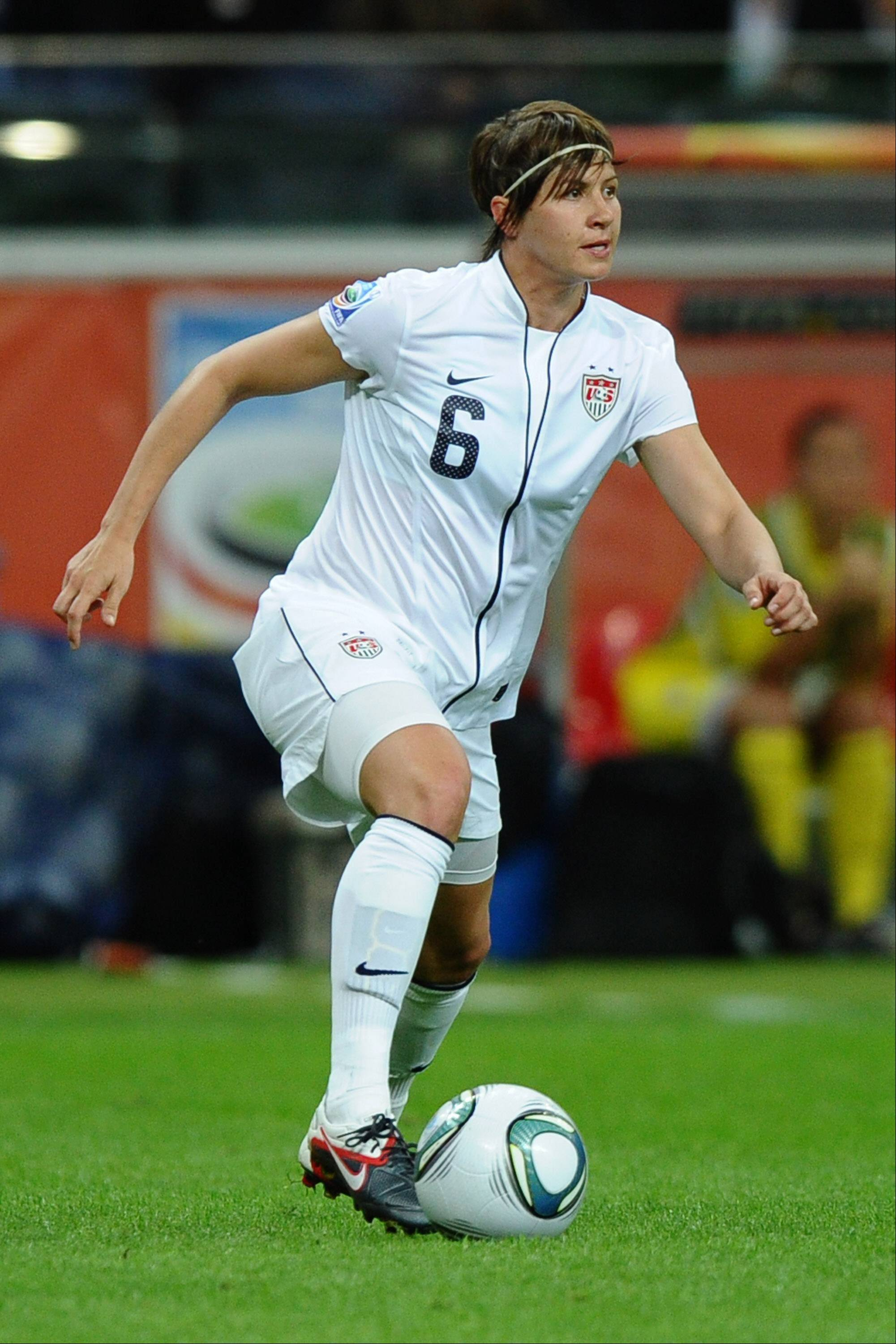 Former Crystal Lake soccer standout Amy LePeilbet in action against Japan in the FIFA Women's World Cup Final on Sunday in Frankfurt, Germany.