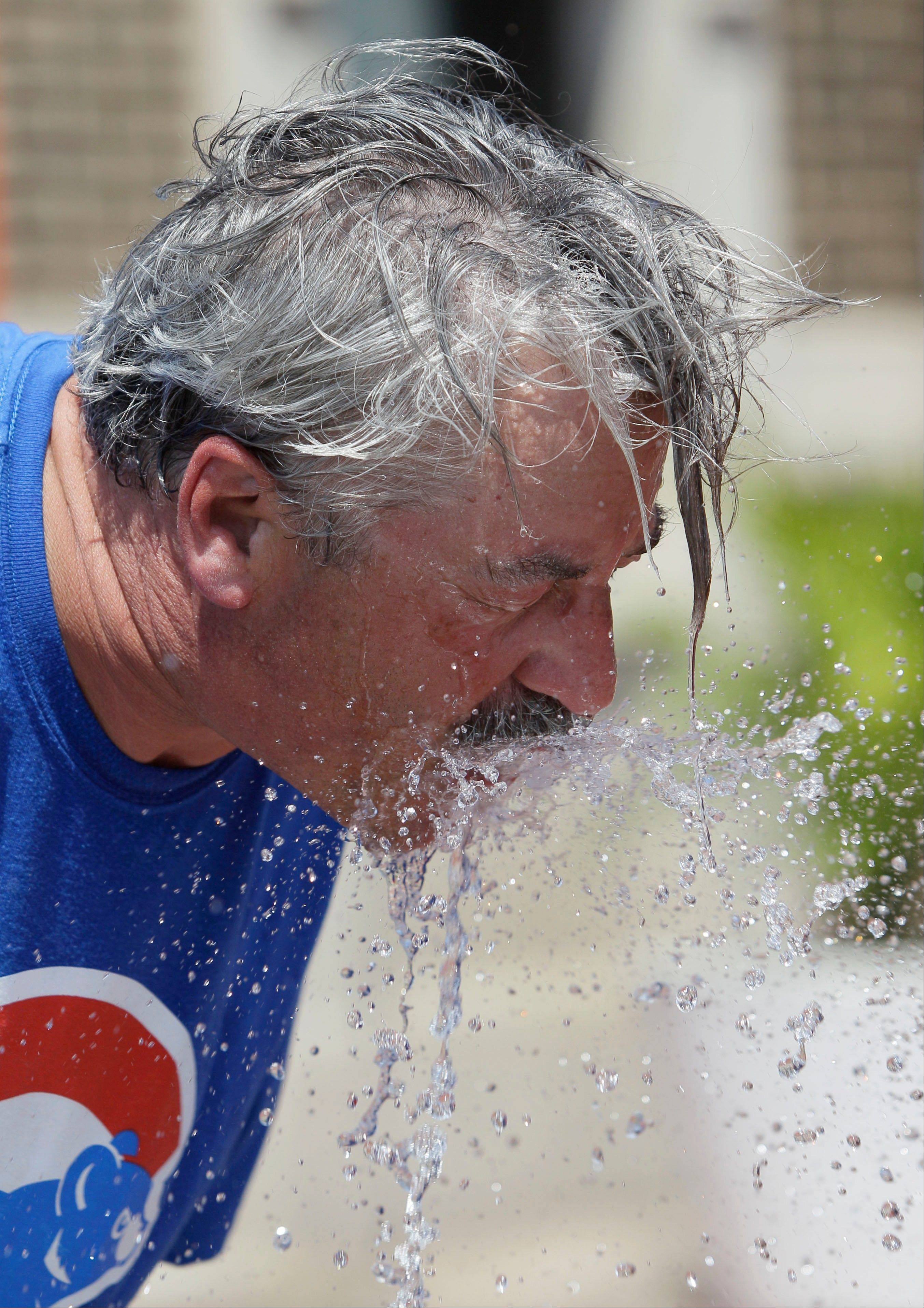 A baseball fan cools off during the Cubs' game Wednesday afternoon.
