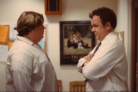 "Terri (Jacob Wysocki), left, has a heart-to-heart with Vice Principal Fitzgerald (Chicago's own John C. Reilly) in the quirky character study ""Terri."""