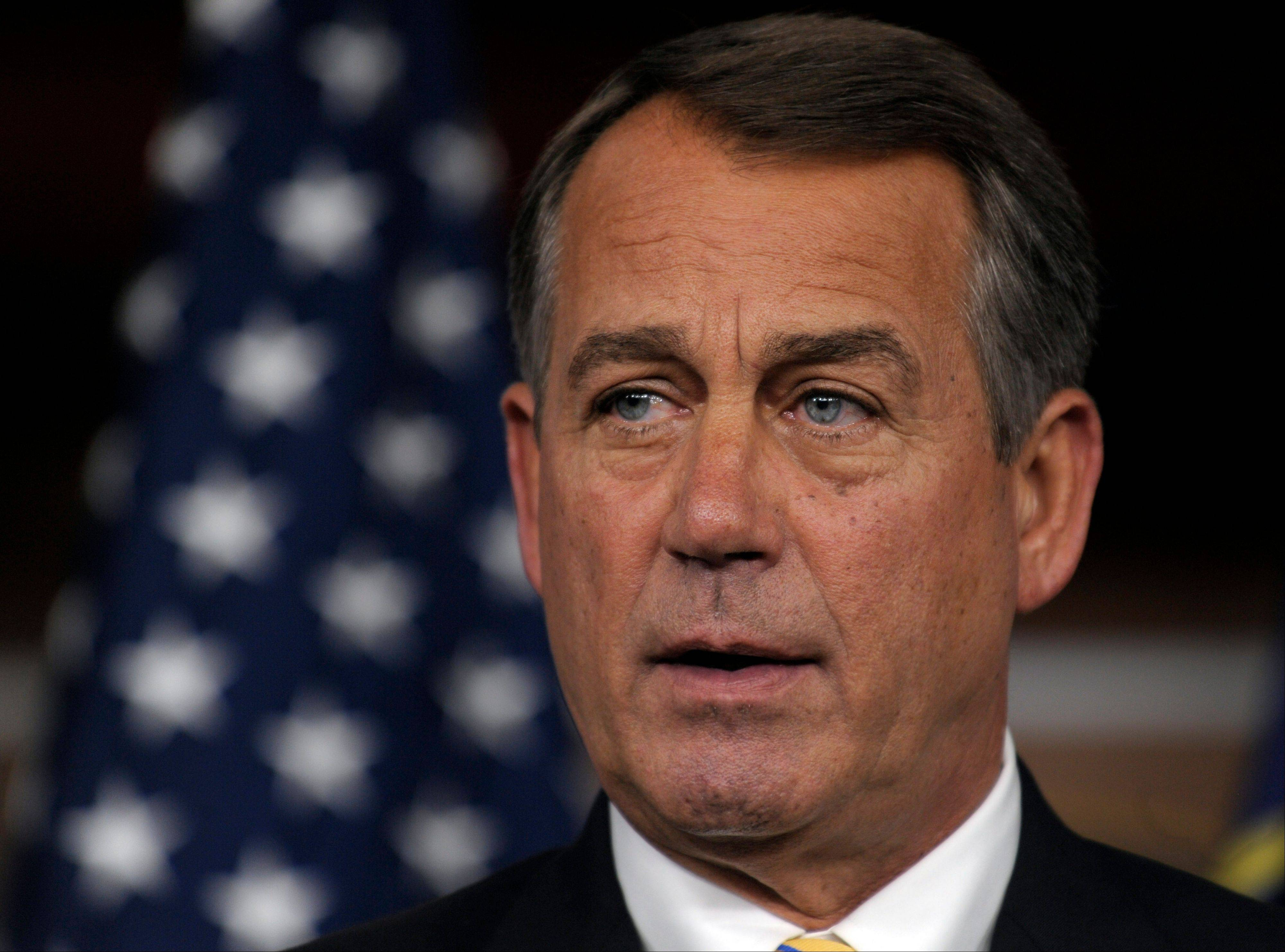 House Speaker John Boehner of Ohio speaks a news conference on Capitol Hill Thursday. Later in the day, he was involved in face-to-face talks with President Obama to hammer out a debt agreement.